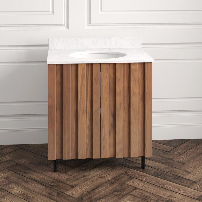 """31"""" Single Bathroom Vanity Set in Carrara White Marble Countertop with a White Porcelain Sink"""