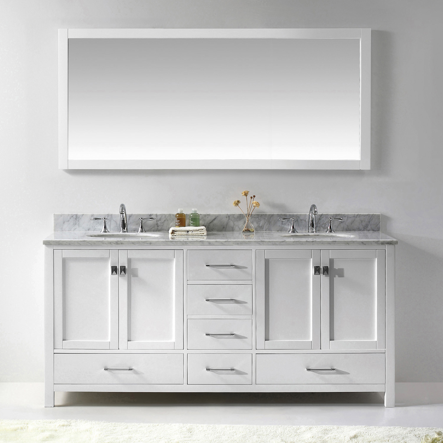 """72"""" Cabinet Only in White Finish with Top, Faucet and Mirror Options"""