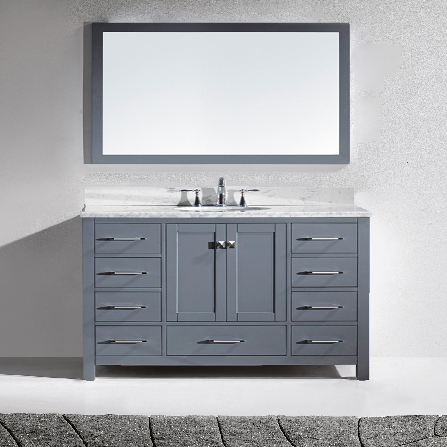 """60"""" Single Bath Vanity in Grey with Marble Top and Round Sink with Mirror"""