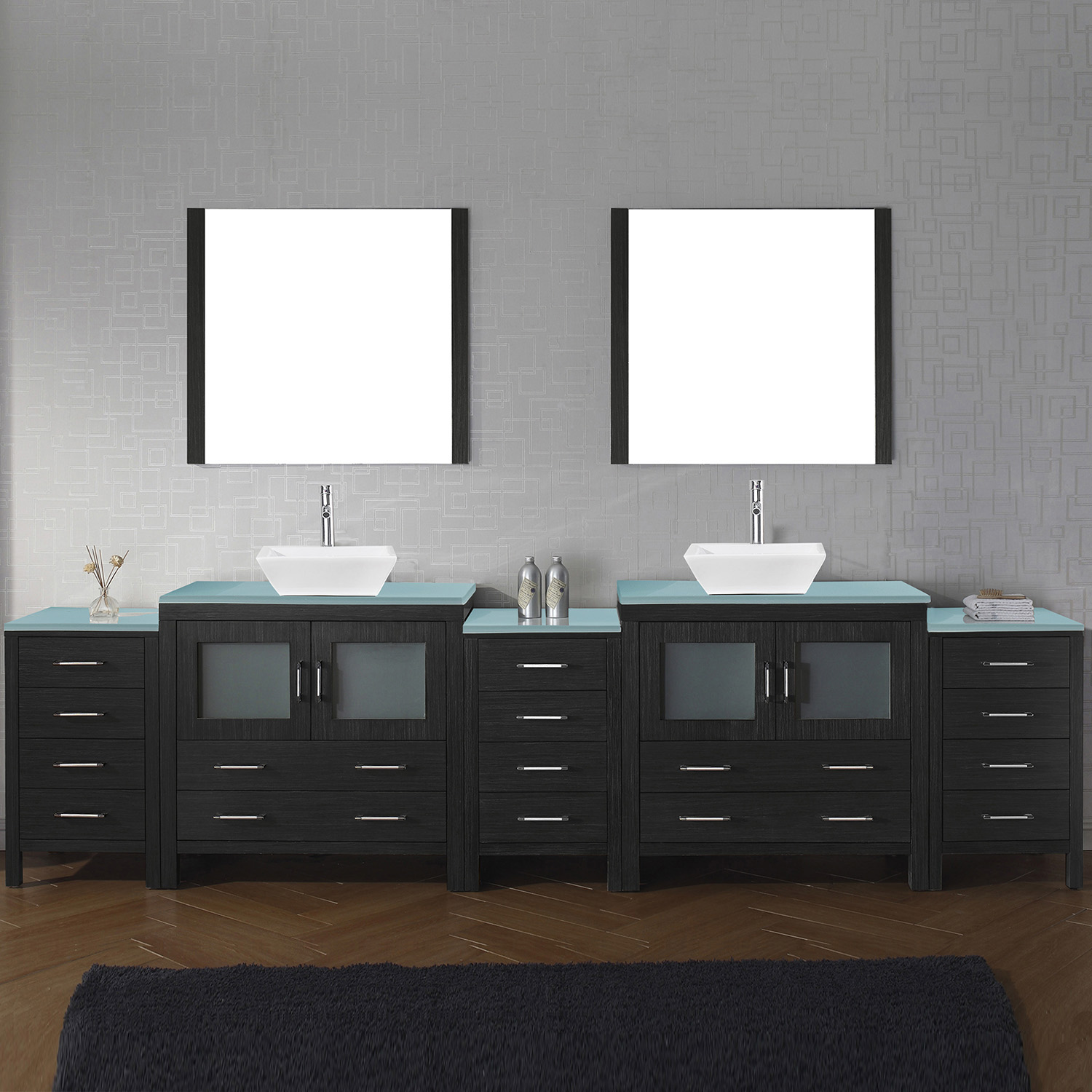 "110"" Double Bath Vanity in Zebra Grey with Aqua Tempered Glass Top and Square Sink with Polished Chrome Faucet and Mirrors"