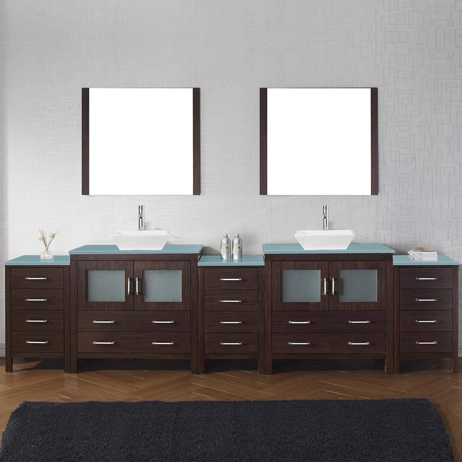 """126"""" Double Bath Vanity in Espresso with Aqua Tempered Glass Top and Square Sink with Polished Chrome Faucet and Mirrors"""
