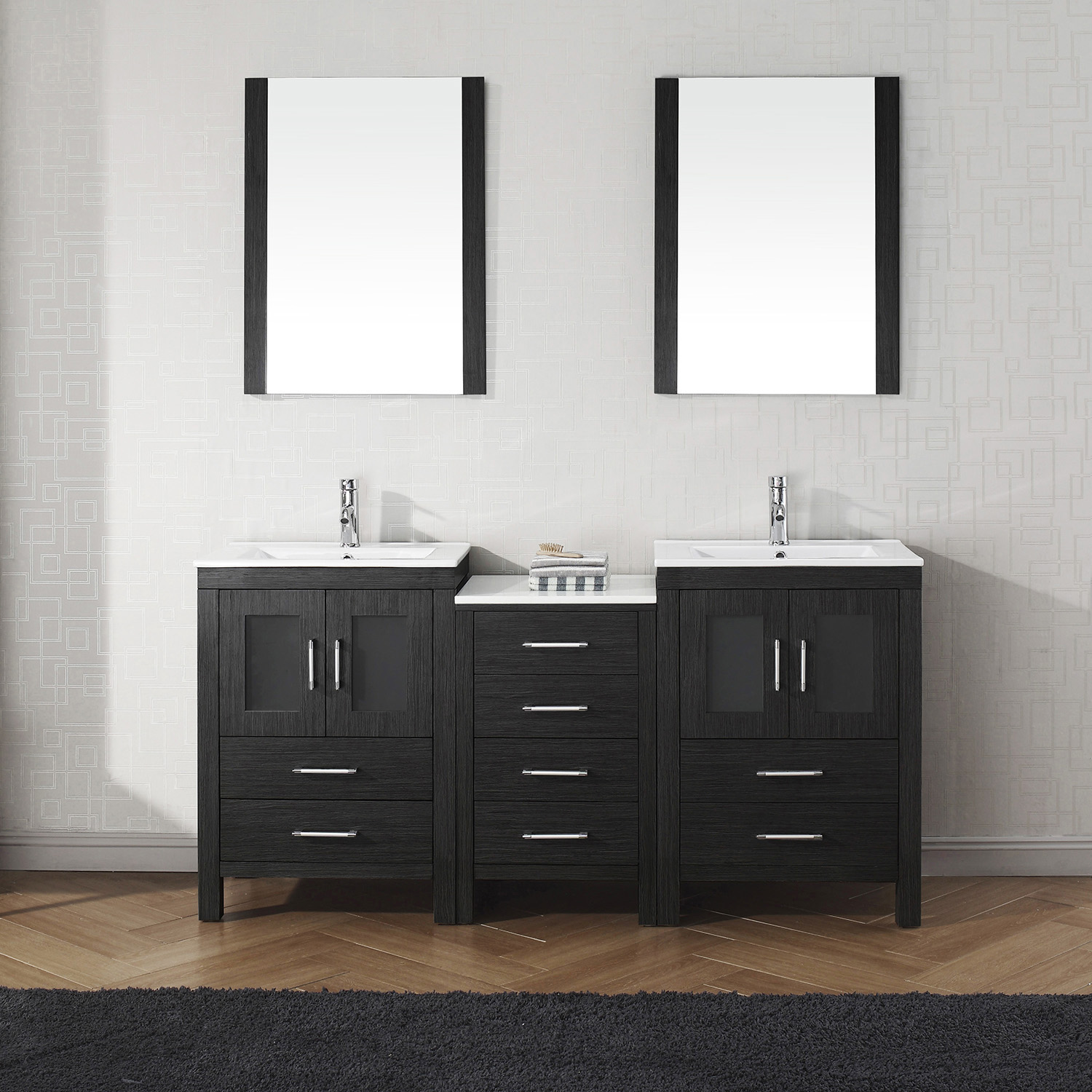 """66"""" Double Bath Vanity in Zebra Grey with Slim White Ceramic Top and Square Sink with Polished Chrome Faucet and Mirrors"""