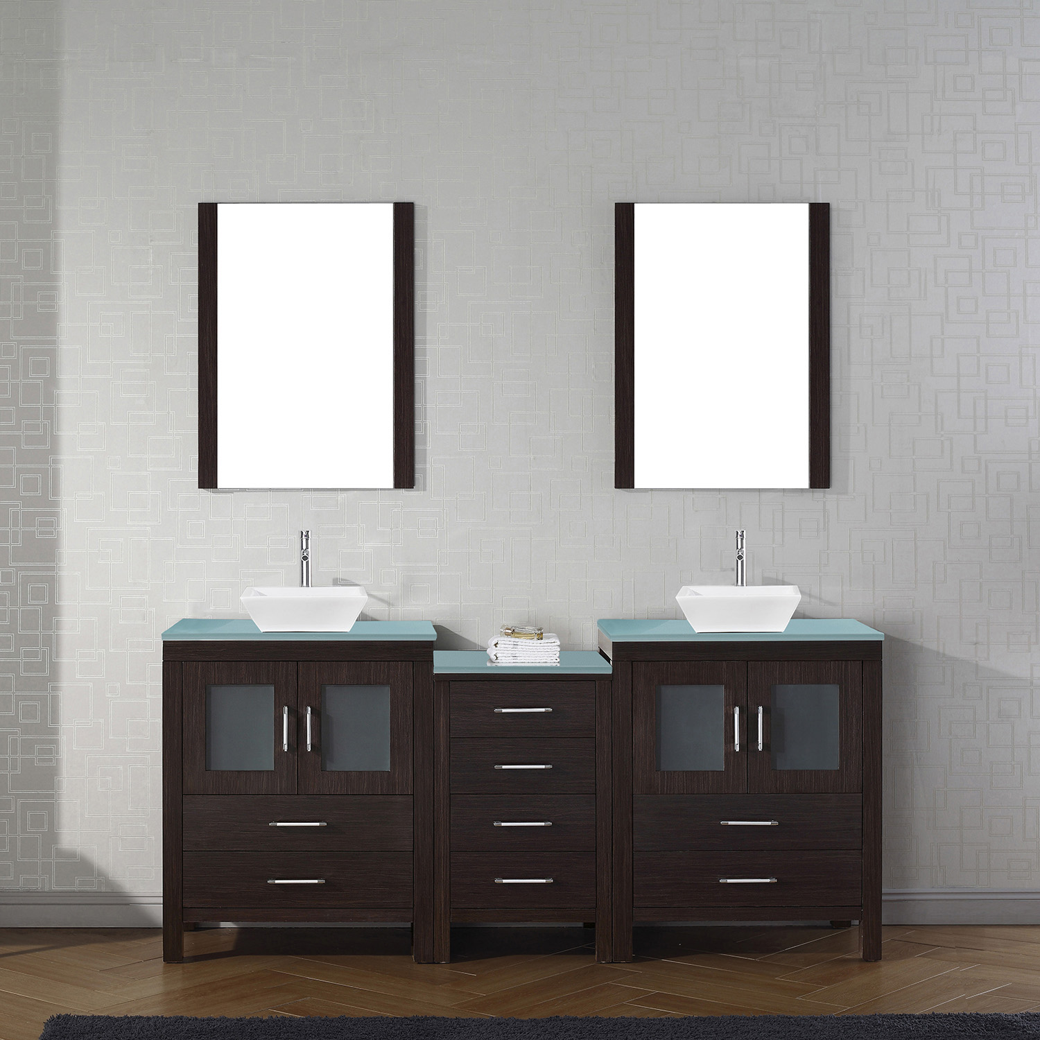 """74"""" Double Bath Vanity in Espresso with Aqua Tempered Glass Top and Square Sink with Brushed Nickel Faucet and Mirrors"""