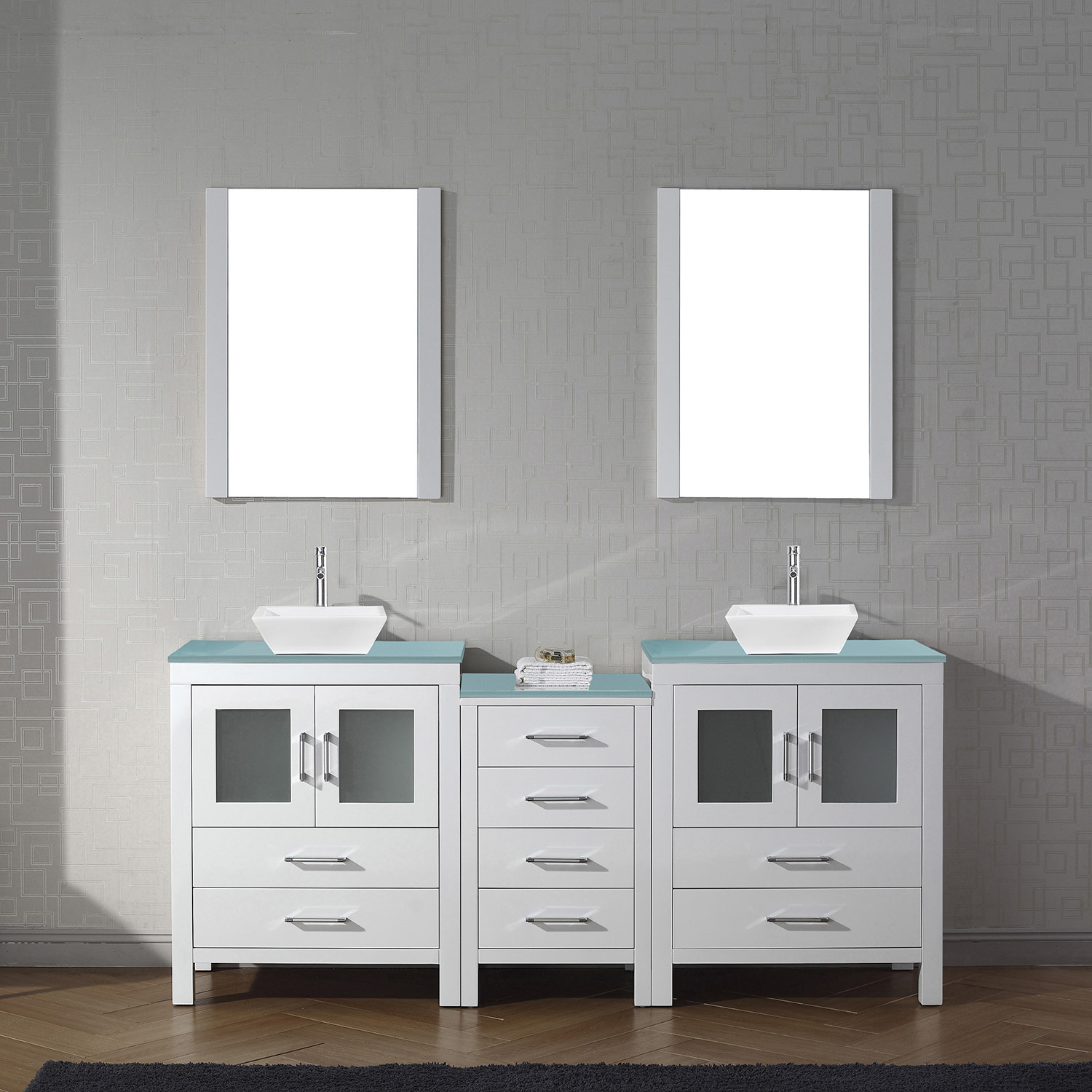 """74"""" Double Bath Vanity in White with Aqua Tempered Glass Top and Square Sink with Brushed Nickel Faucet and Mirrors"""