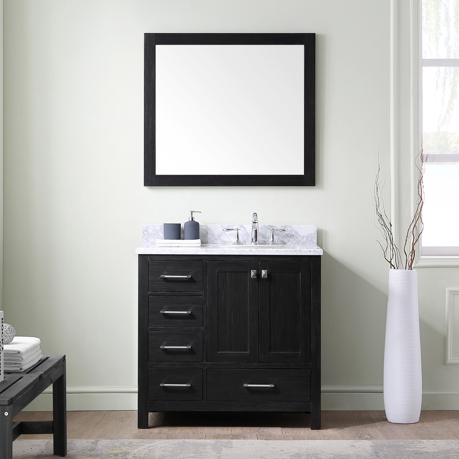 """36"""" Cabinet Only in Zebra Grey with Top, Sink and Mirror Options"""