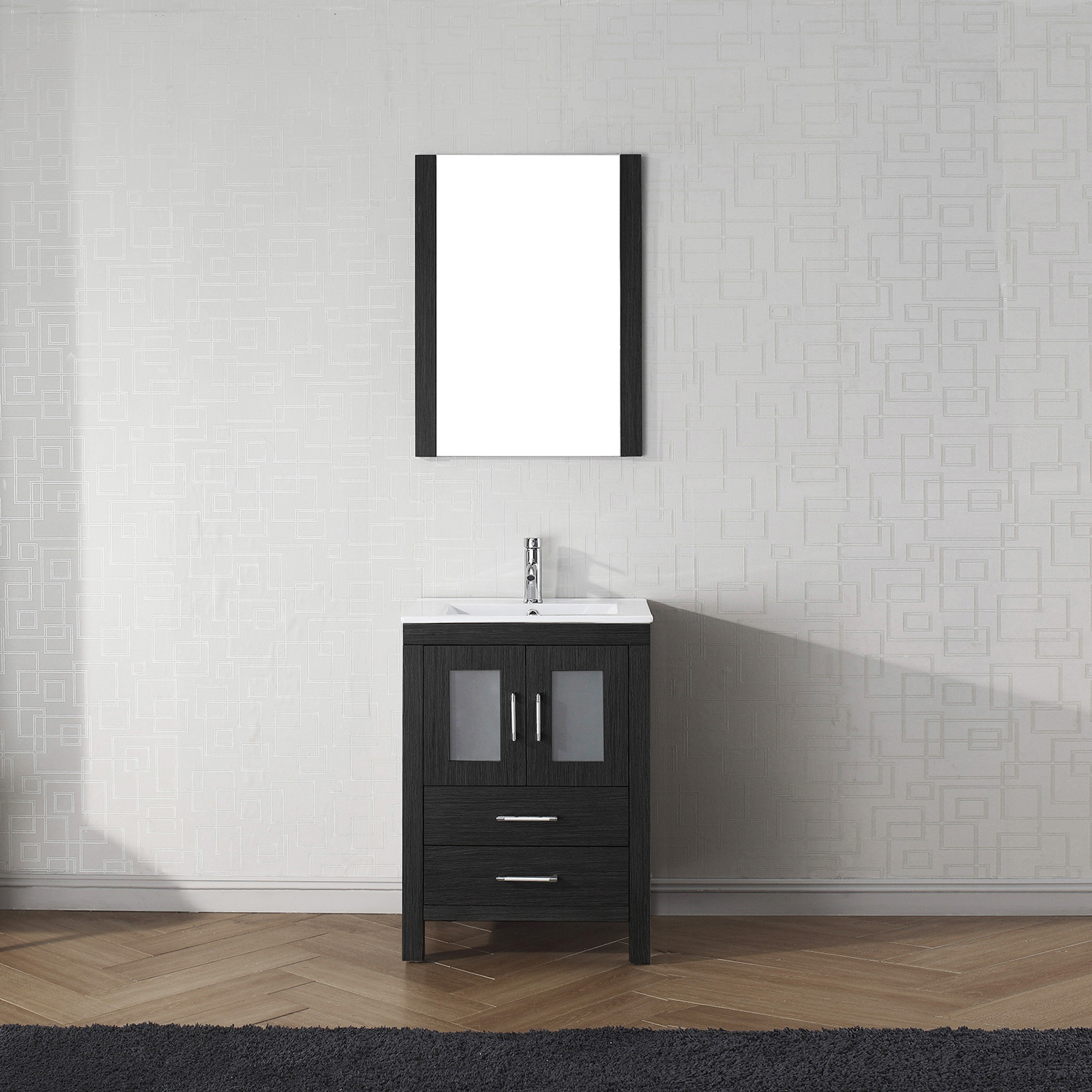 """24"""" Cabinet Only in Zebra Gray with Top, Faucet, Mirror and Sink Options"""