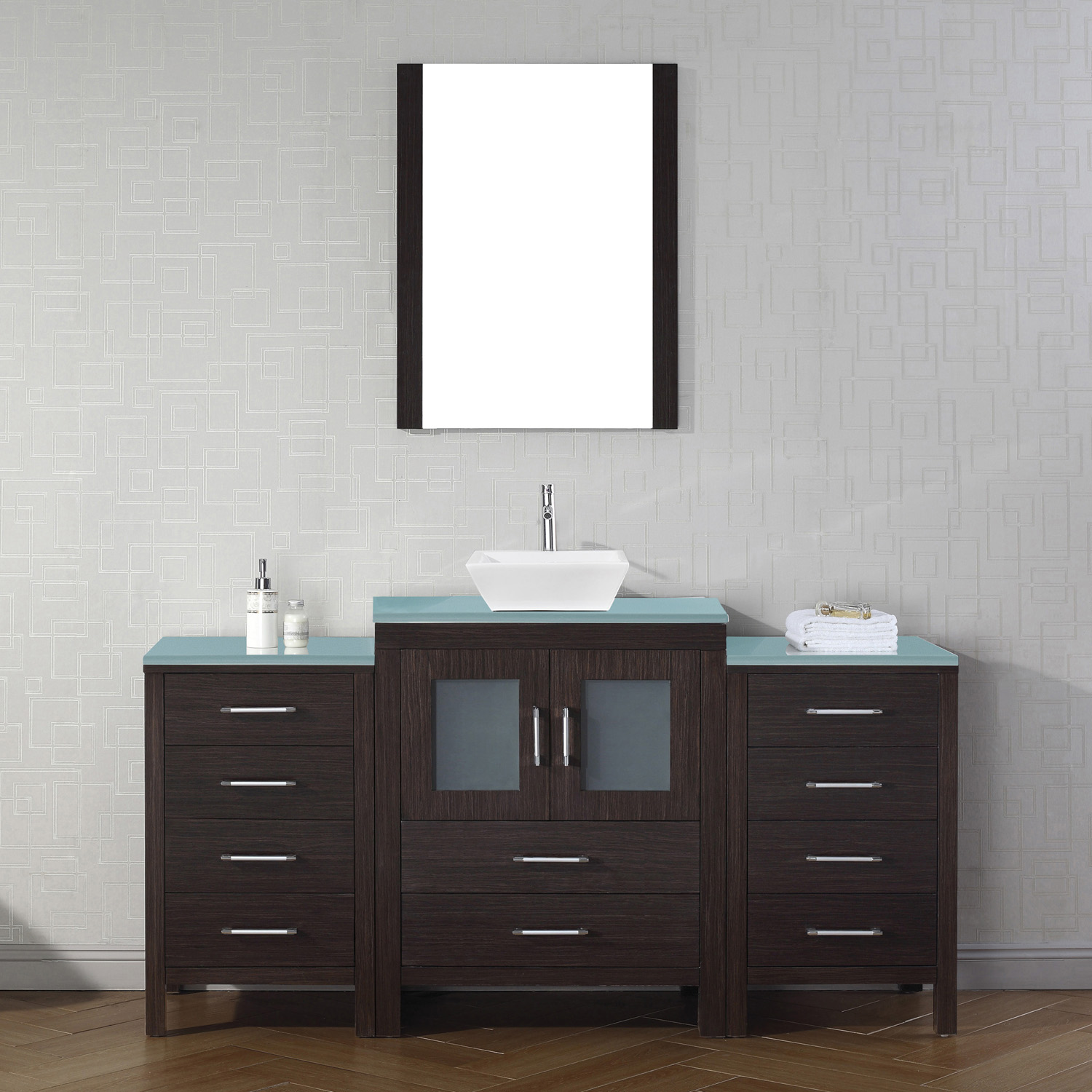 "64"" Single Bath Vanity in Espresso with Aqua Tempered Glass Top and Square Sink with Polished Chrome Faucet and Mirror"