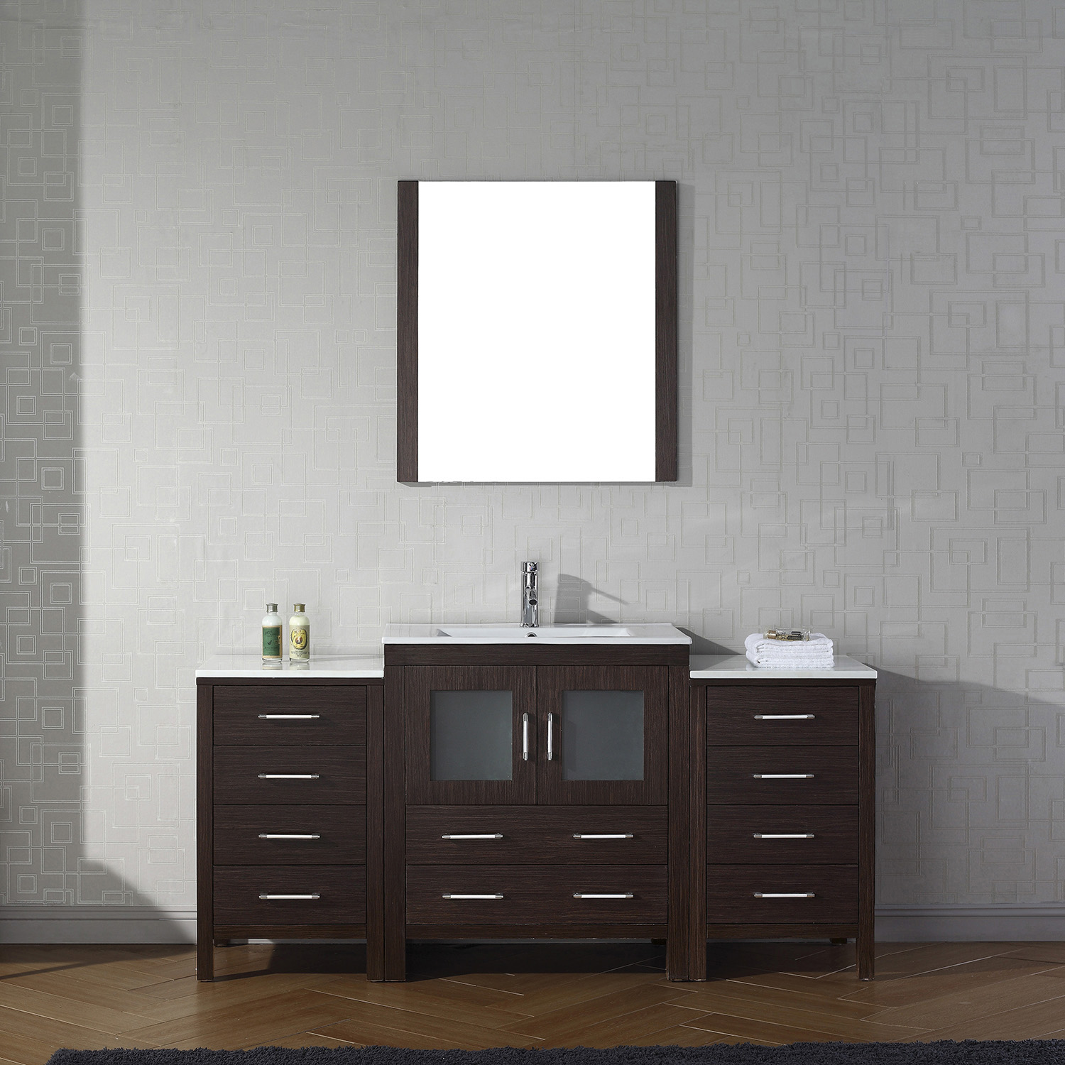 """66"""" Single Bath Vanity in Espresso with Slim White Ceramic Top and Square Sink with Polished Chrome Faucet and Mirror"""