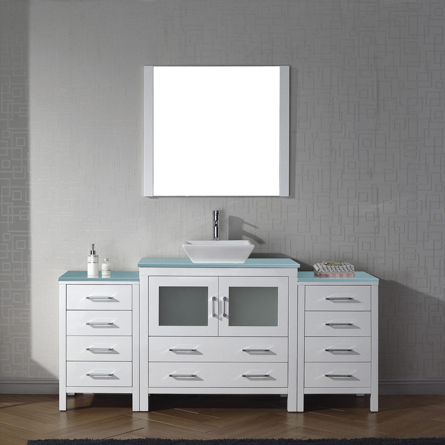 "72"" Single Bath Vanity in White with Aqua Tempered Glass Top and Square Sink with Polished Chrome Faucet and Mirror"