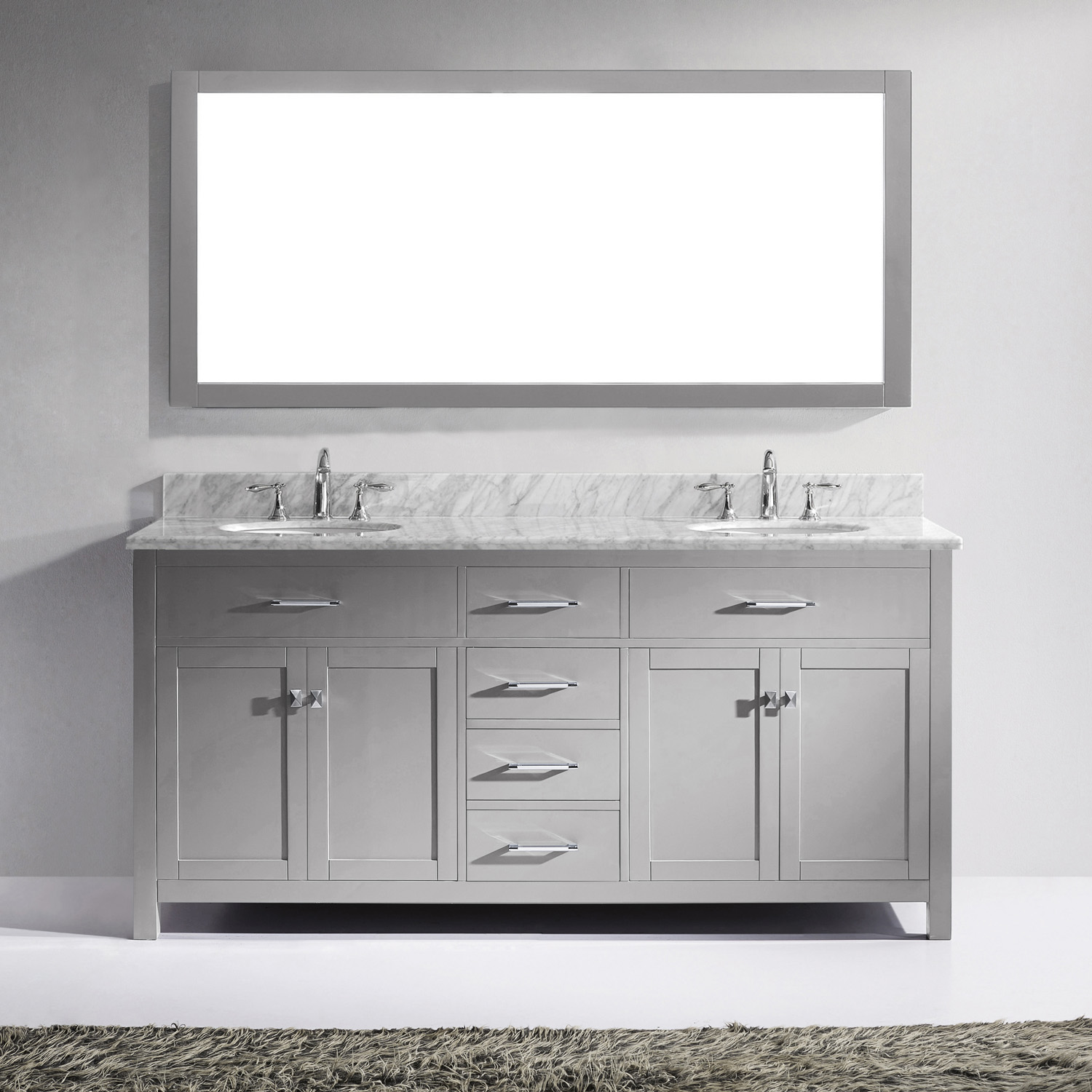 """72"""" Cabinet Only in Cashmere Grey with Countertop, Faucet and Mirror Options"""