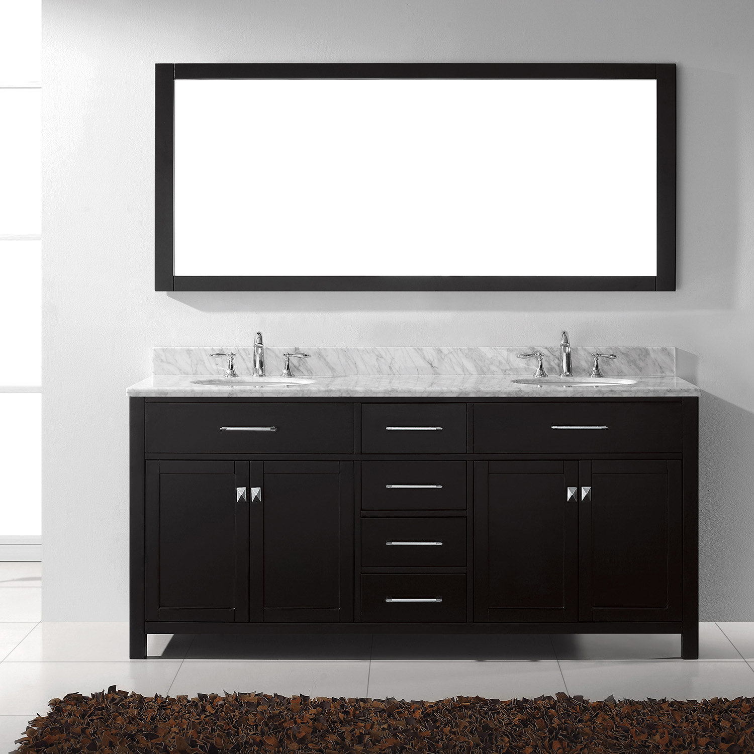 """72"""" Cabinet Only in Espresso with Countertop, Faucet and Mirror Options"""