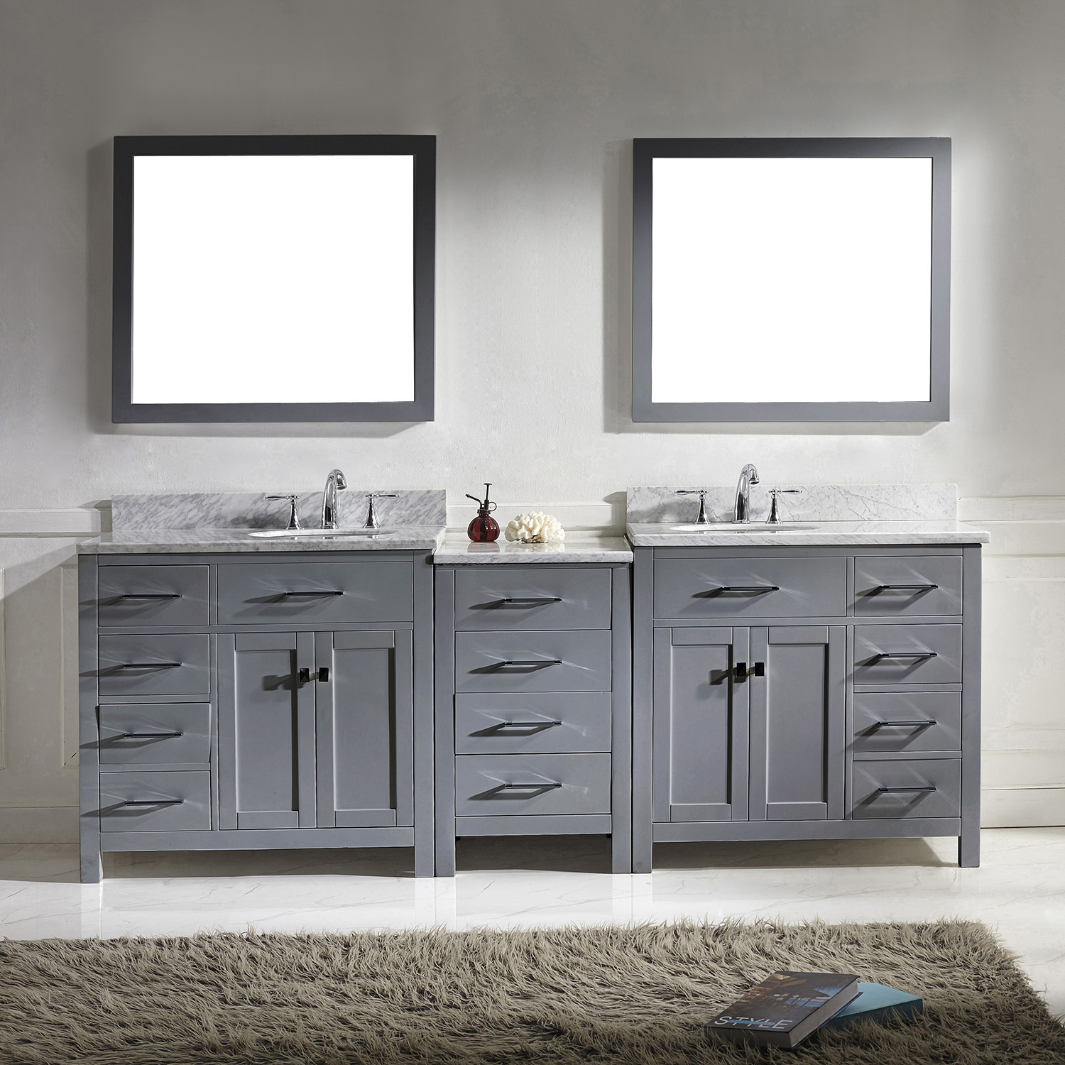 """93"""" Double Bath Vanity in Grey with Marble Top and Round Sink"""