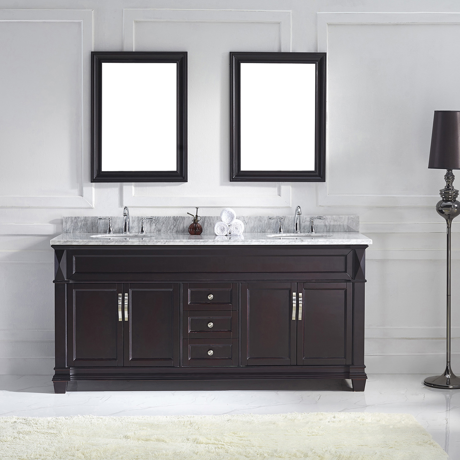 """72"""" Cabinet Only in Espresso Finish with Top, Faucet and Mirror Option"""