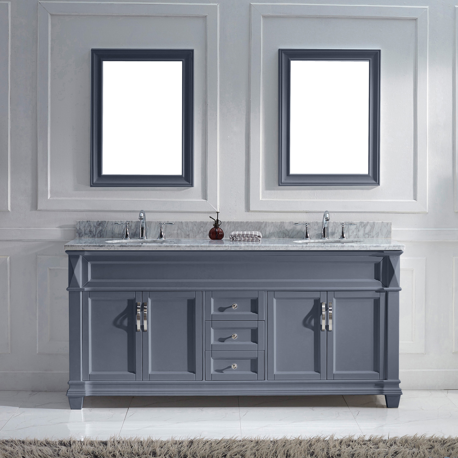 "72"" Cabinet Only in Grey Finish with Top, Faucet and Mirror Option"