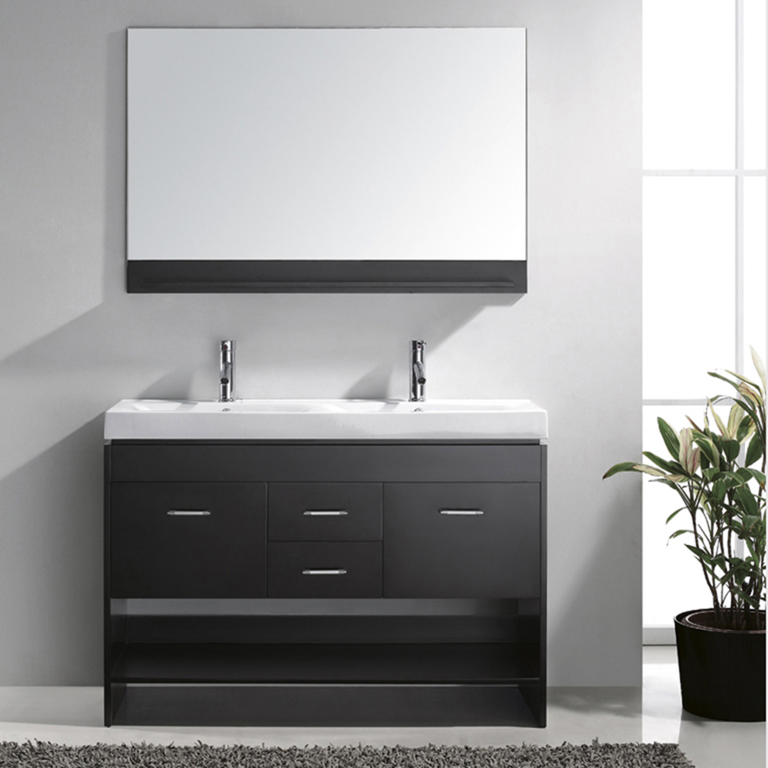 "48"" Double Bath Vanity in Espresso with White Ceramic Top and Square Sink with Polished Chrome Faucet and Mirror"