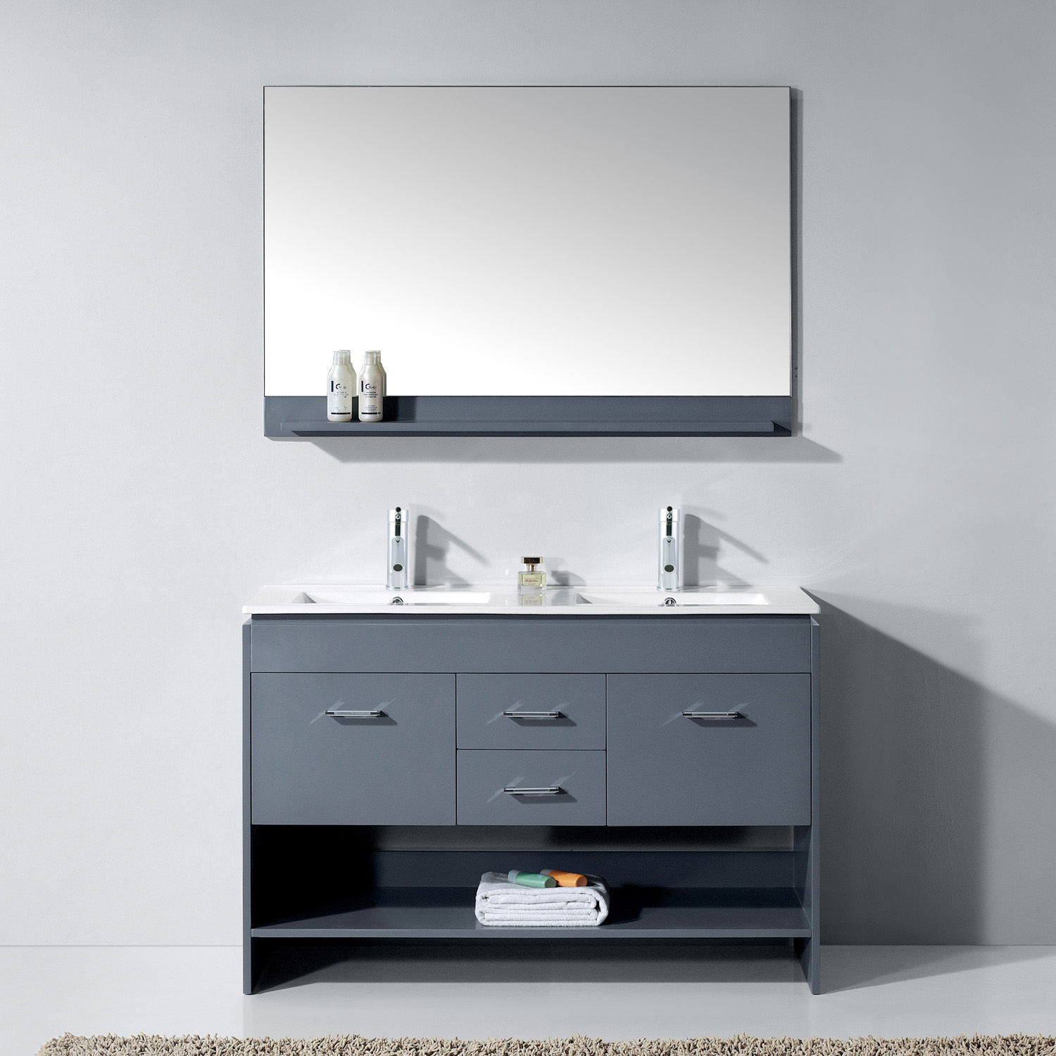 """48"""" Double Bath Vanity in Grey with White Ceramic Top and Square Sink with Polished Chrome Faucet and Mirror"""
