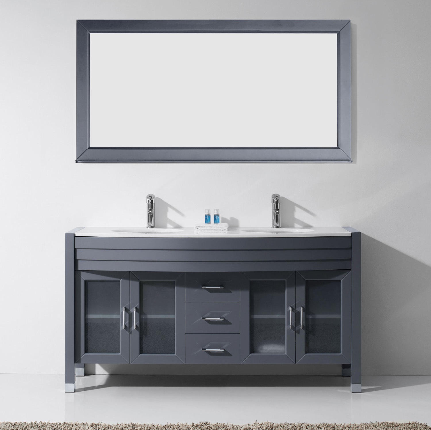 "63"" Double Bath Vanity in Grey with White Engineered Stone Top and Round Sink with Polished Chrome Faucet and Mirror"