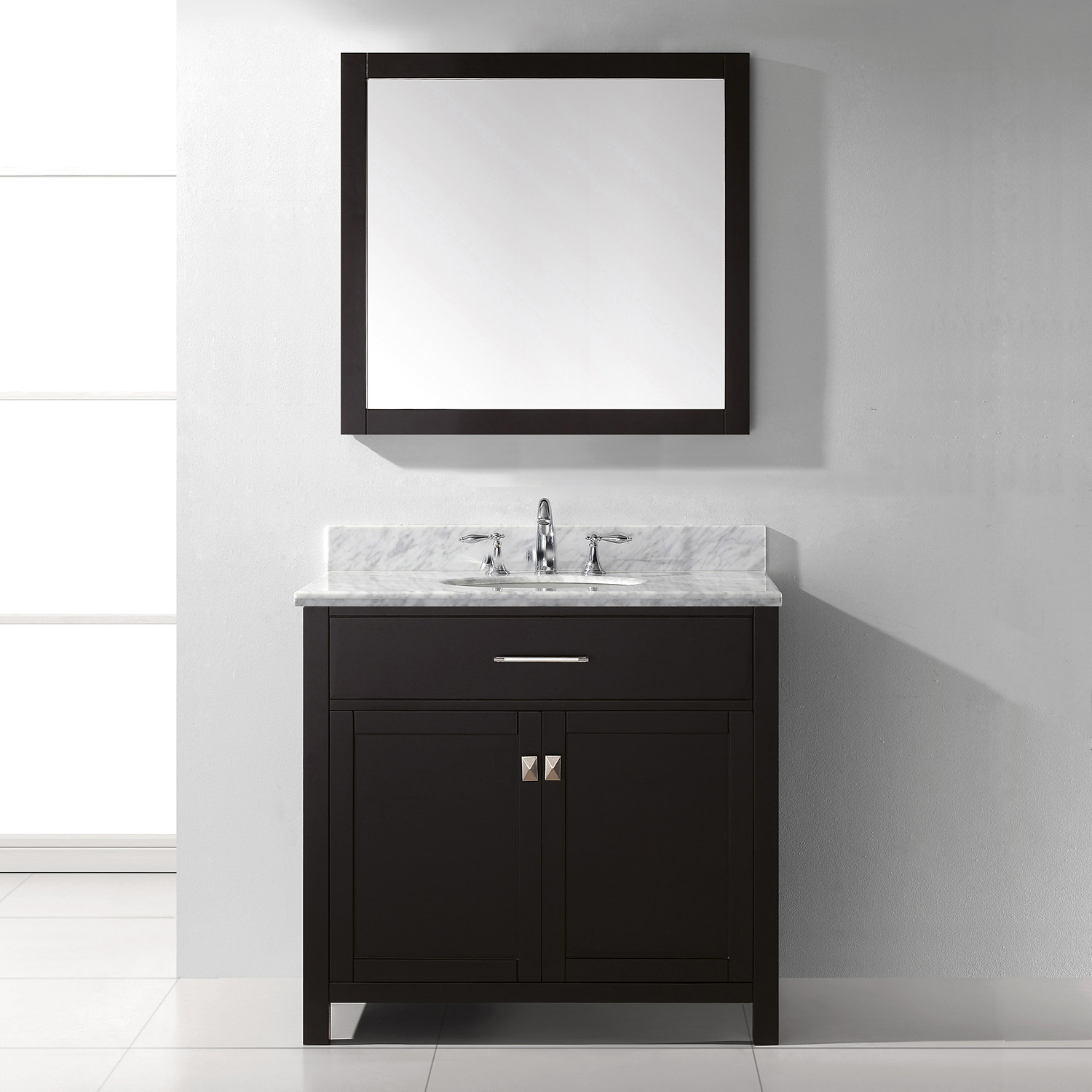 """36"""" Cabinet Only in Espresso with Top, Mirror and Faucet Options"""