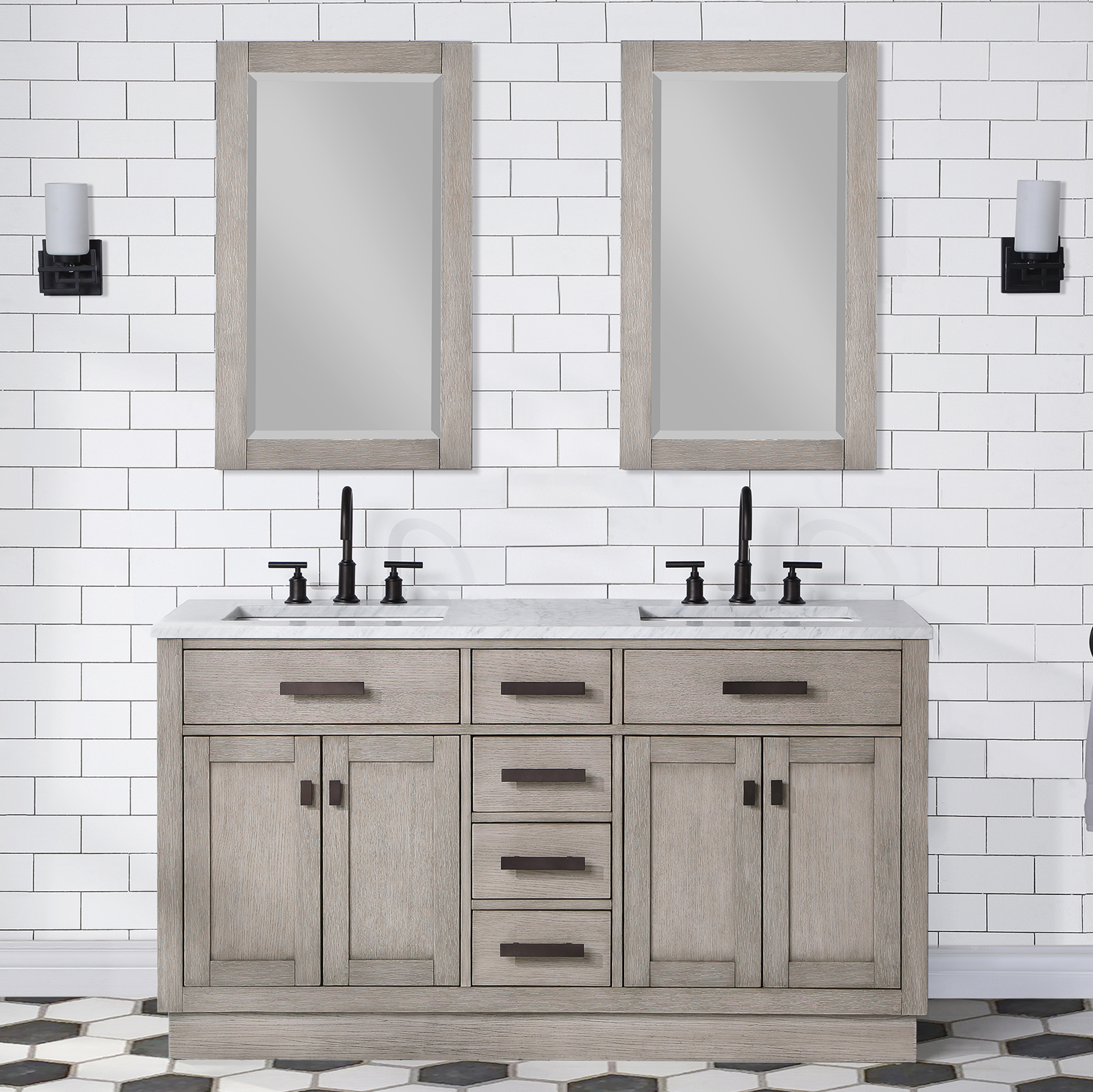 "60"" Gray Oak Double Bathroom Vanity with Seamless Italian Carrara White Marble Top"