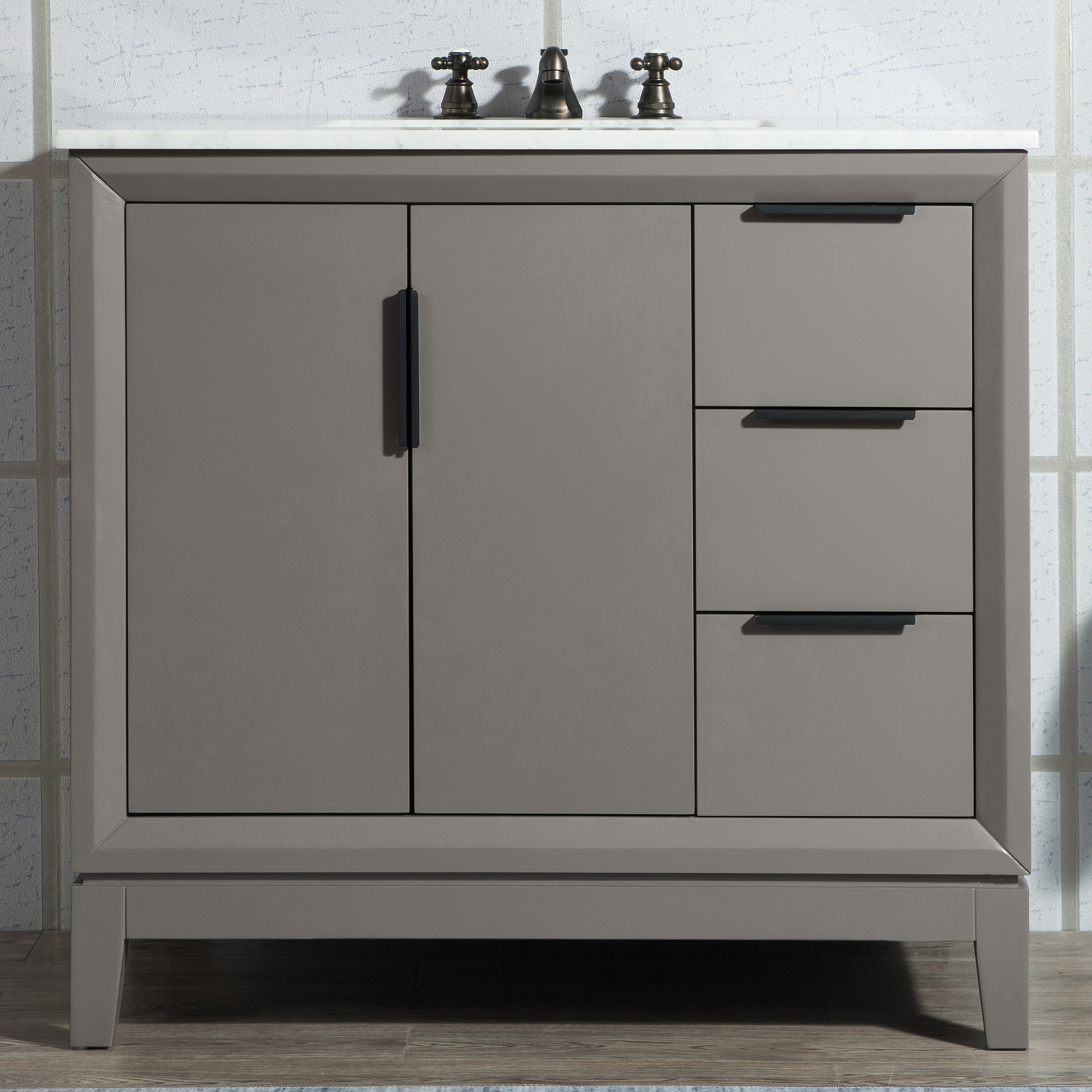 """36"""" Single Sink Carrara White Marble Vanity In Cashmere Grey Finish"""
