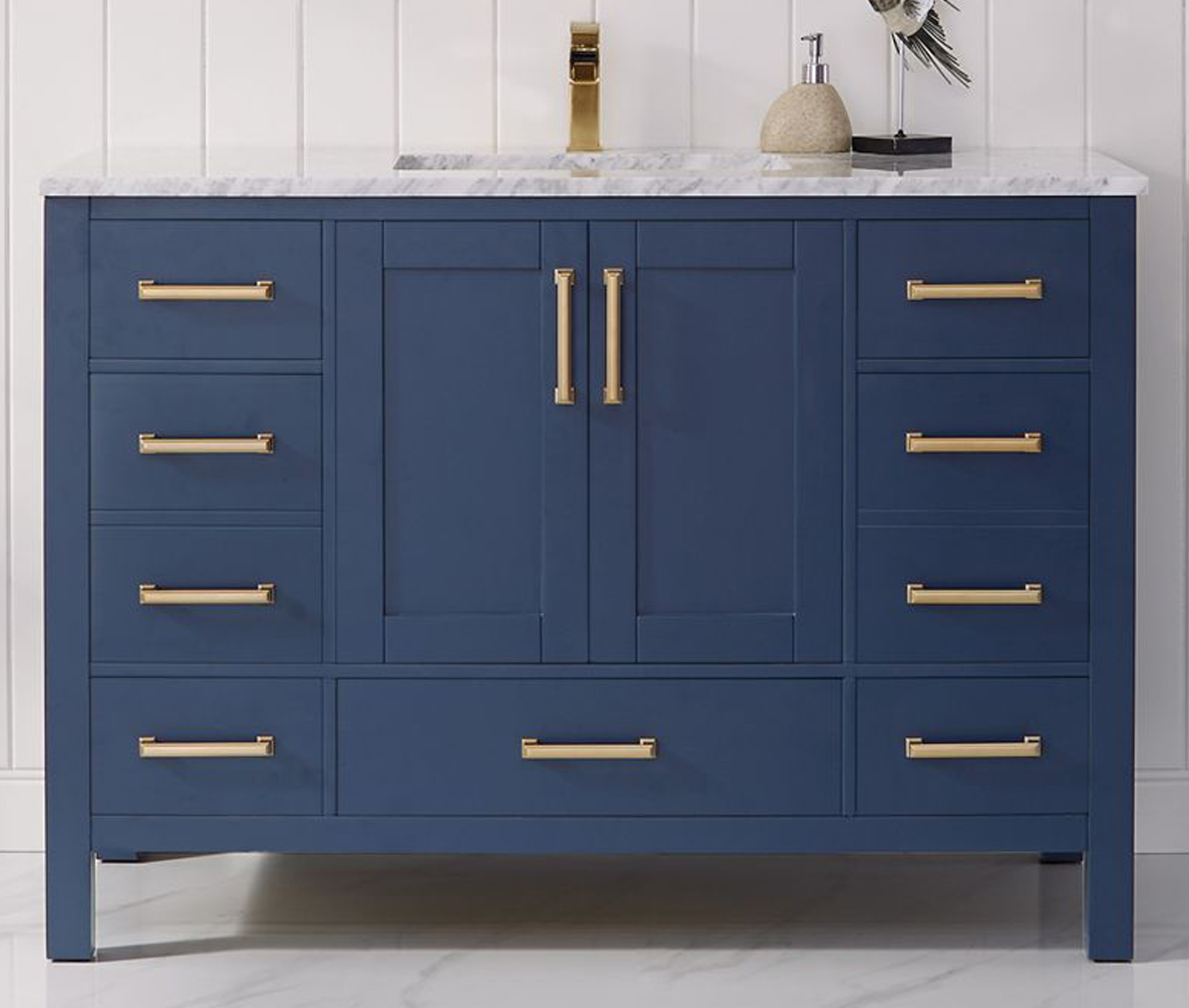 """48"""" Single Vanity in Royal Blue and Composite Carrara White Stone Countertop Without Mirror"""
