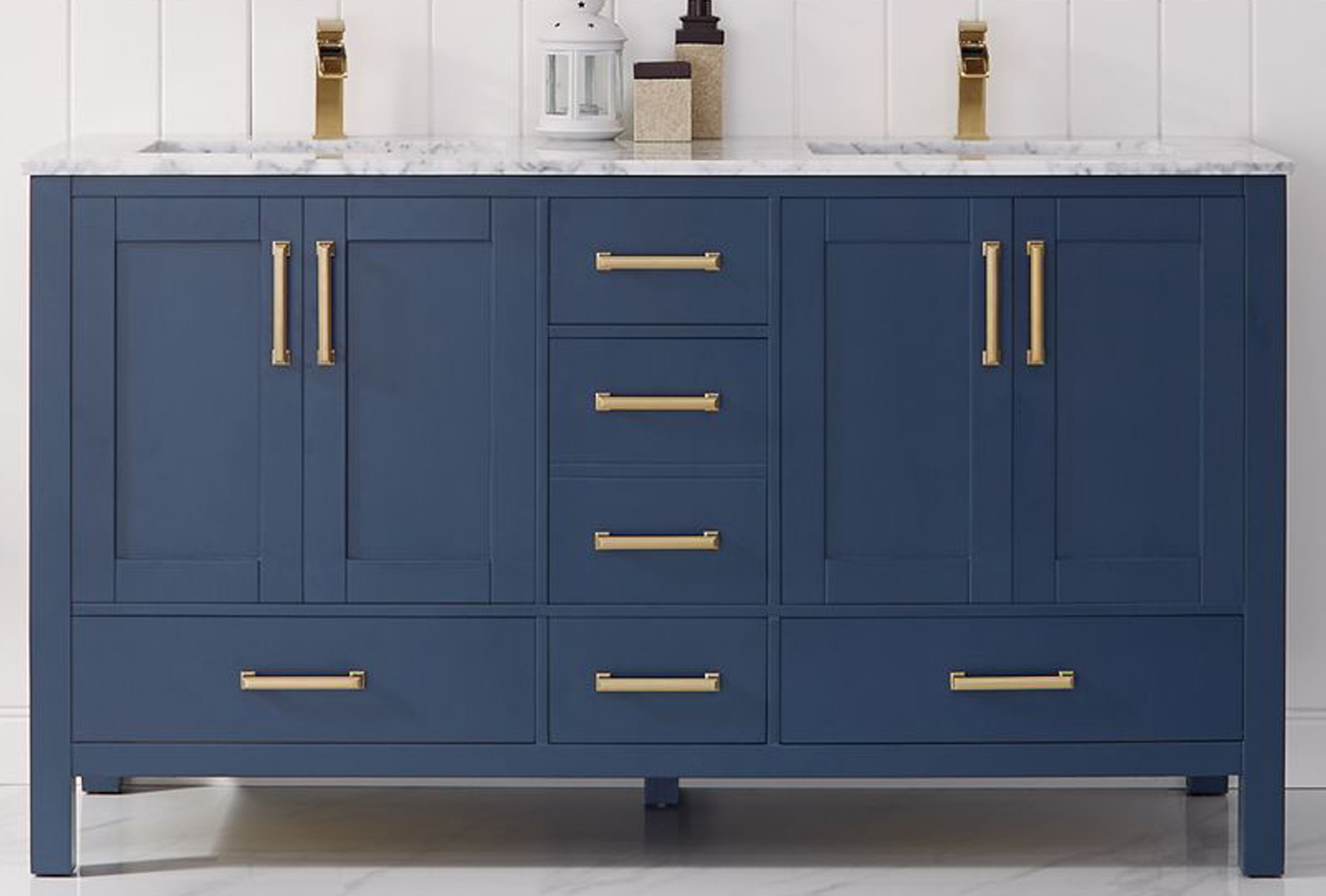 """60"""" Double Vanity in Royal Blue and Composite Carrara White Stone Countertop Without Mirror"""