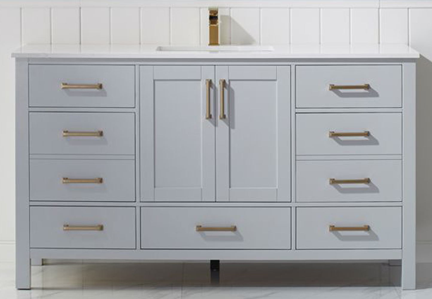 """60"""" Single Vanity in Paris Grey and Composite Carrara White Stone Countertop Without Mirror"""