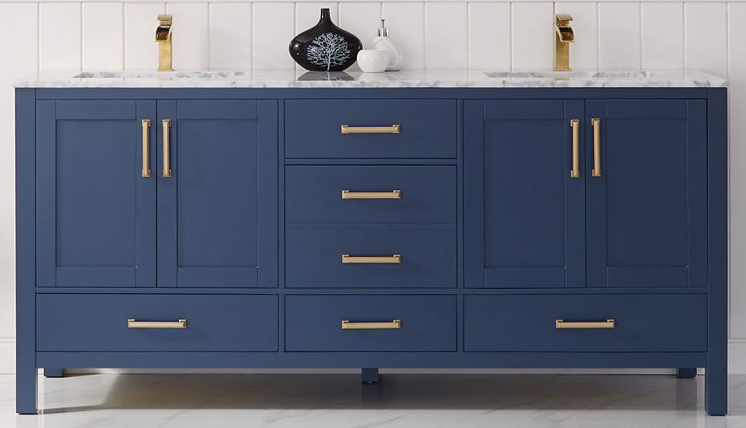 """72"""" Double Vanity in Royal Blue and Composite Carrara White Stone Countertop Without Mirror"""