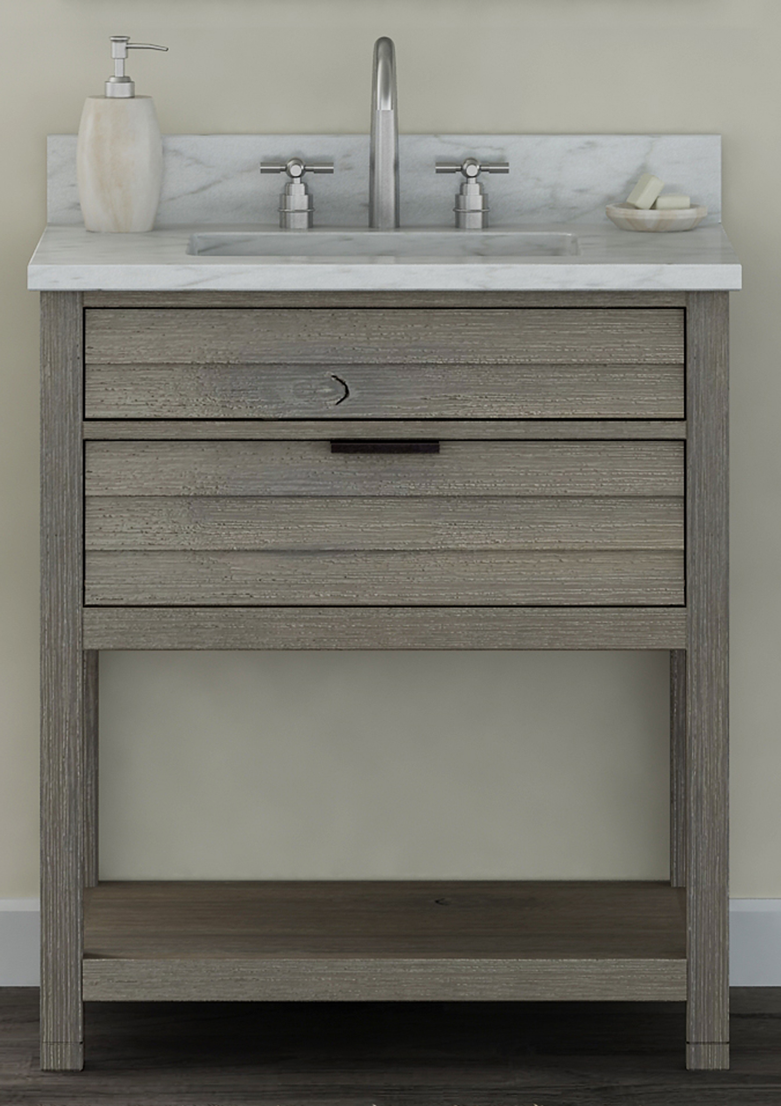 """30"""" Bathroom Vanity Base, Rustic Taupe Finish with Countertop Options"""