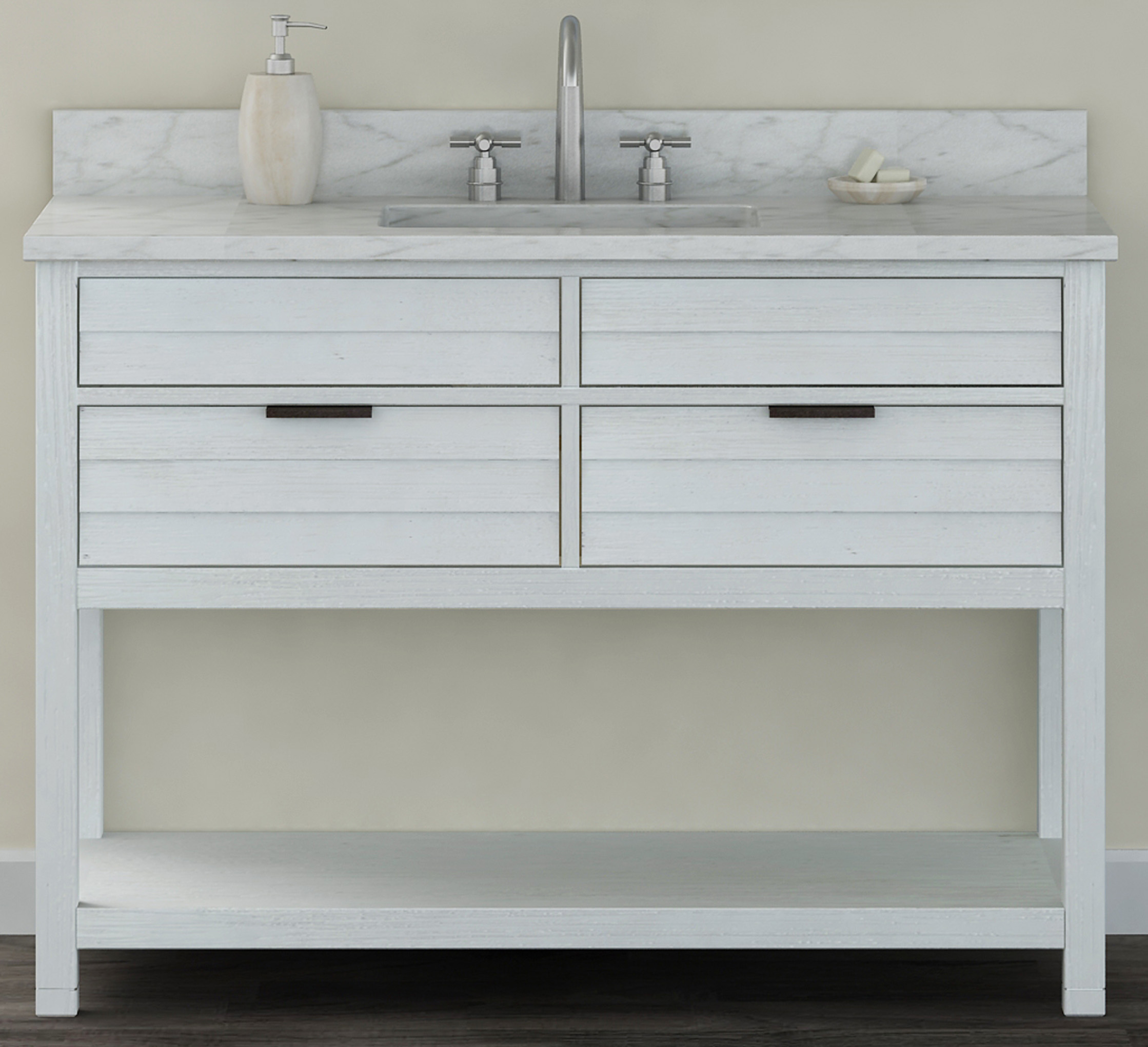 "48"" Bathroom Vanity Base, White-Wash Finish with Countertop Options"
