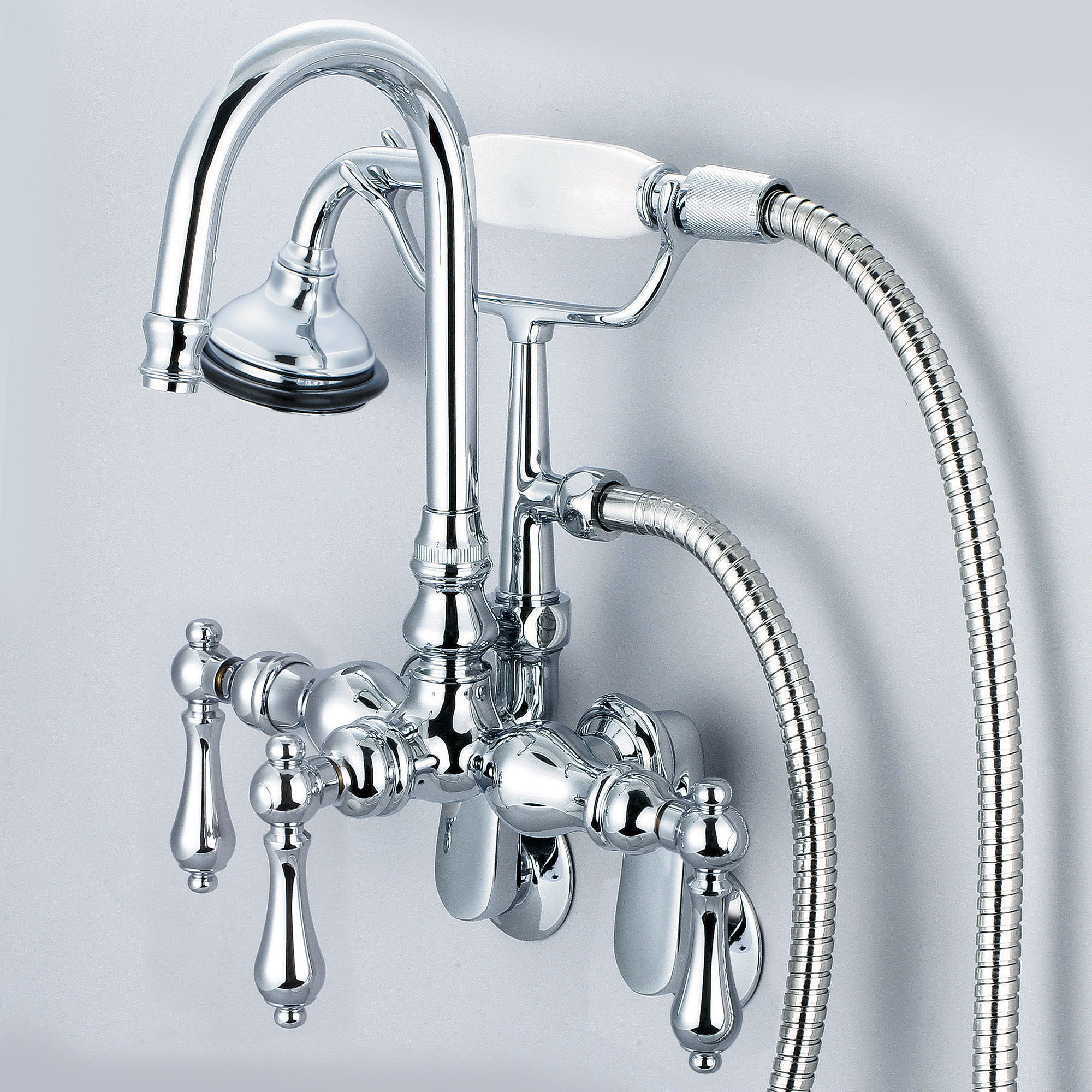 Vintage Classic Adjustable Spread Wall Mount Tub Faucet With Gooseneck Spout, Swivel Wall Connector & Handheld Shower in Chrome Finish With Metal Lever Handles Without Labels