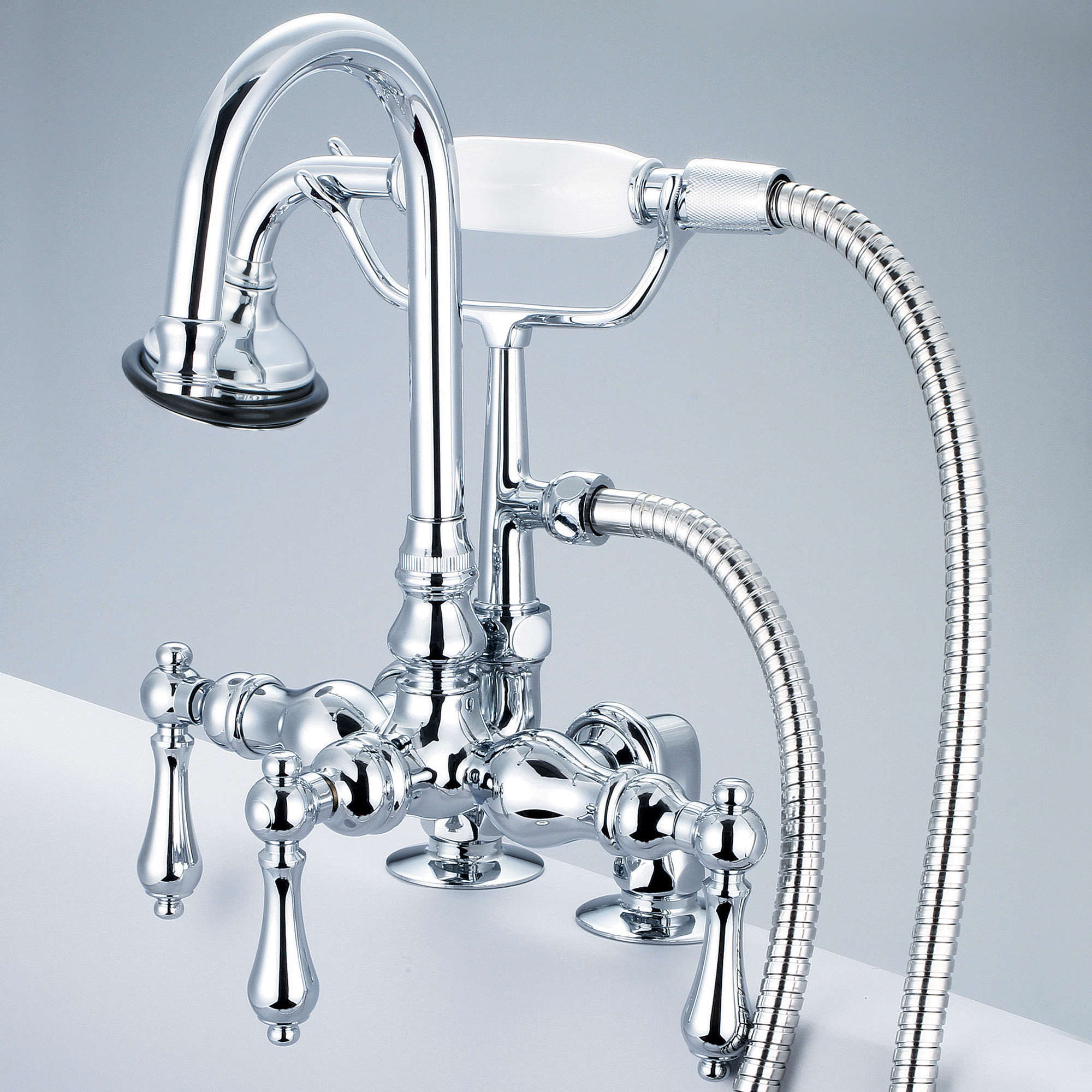 Vintage Classic 3.375 Inch Center Deck Mount Tub Faucet With Gooseneck Spout, 2 Inch Risers & Handheld Shower in Chrome Finish With Metal Lever Handles Without Labels