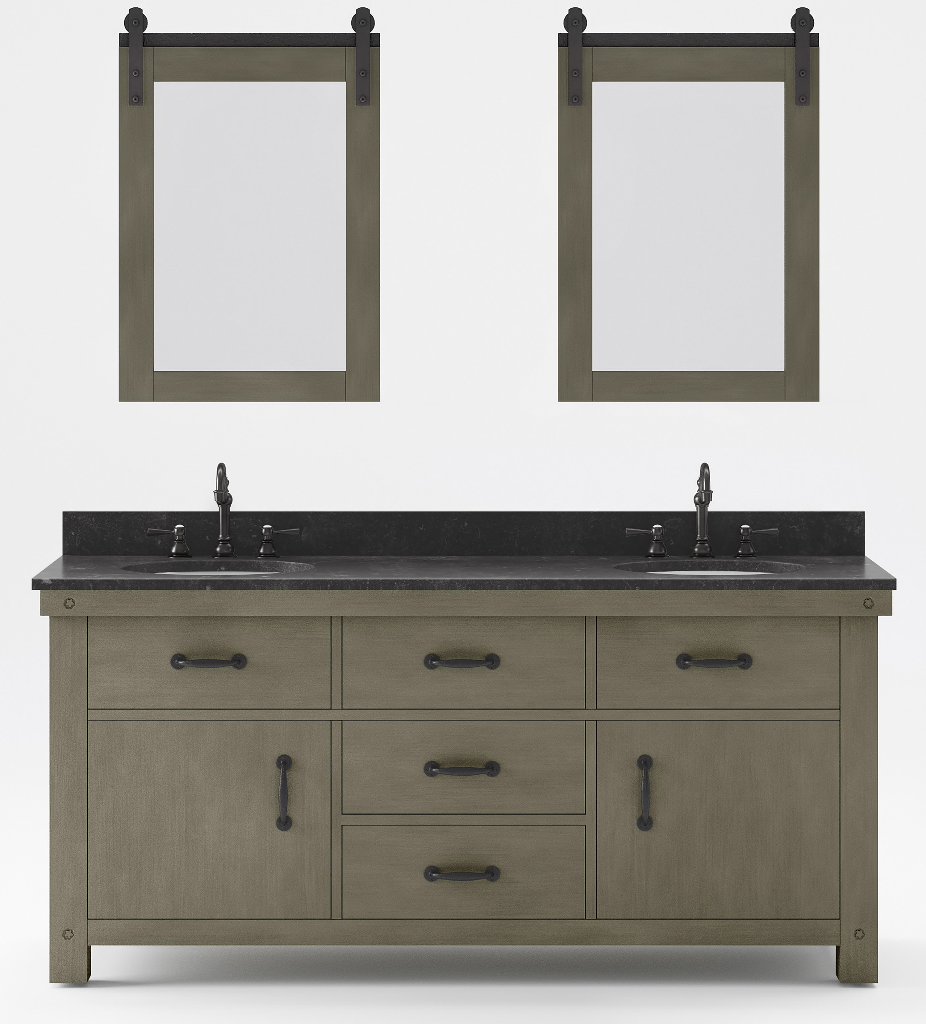 """72"""" Double Sink Blue Limestone Countertop Vanity in Grizzle Gray with Mirror with Faucet Options"""