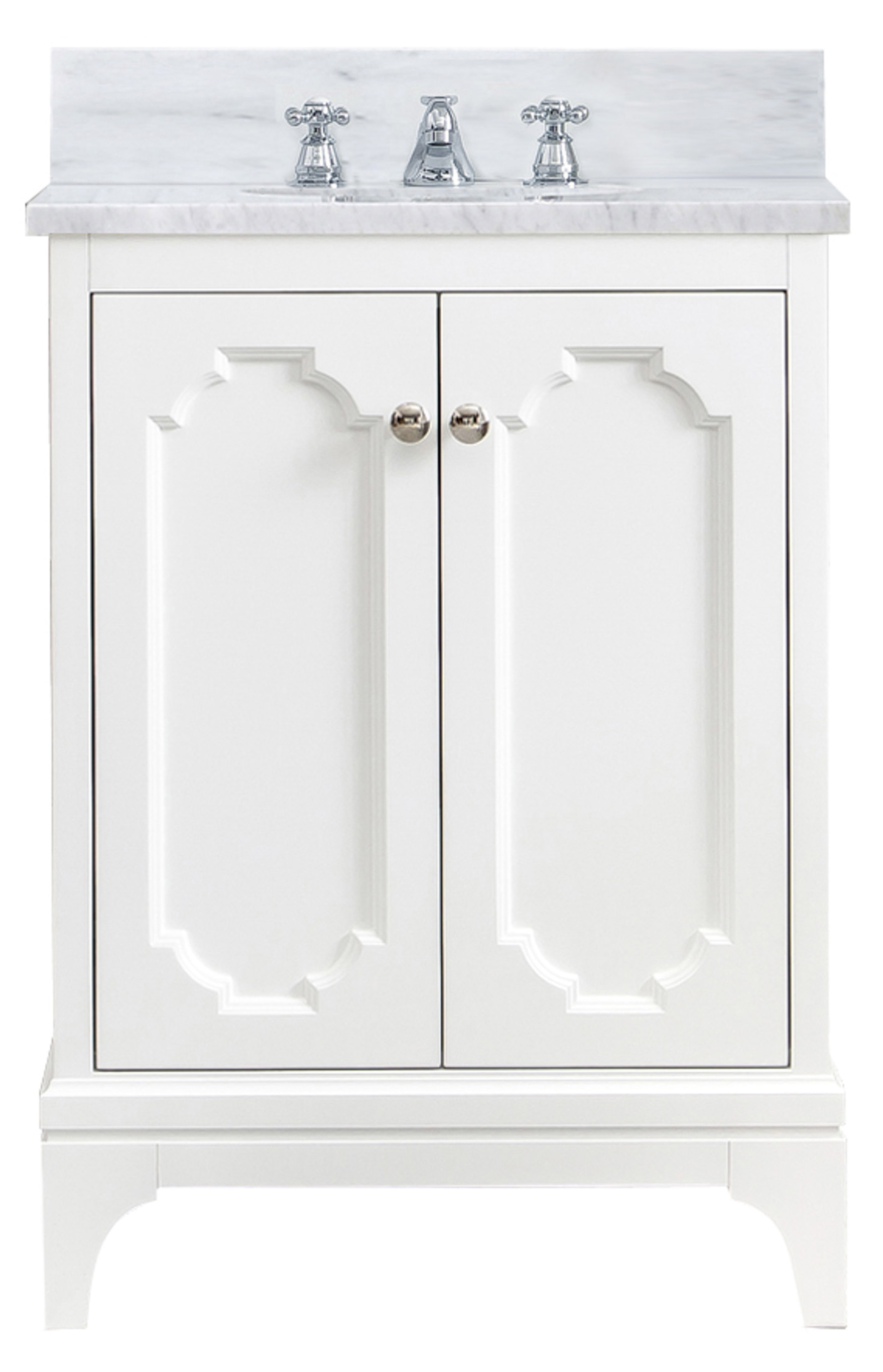 "24"" Single Sink Carrara White Marble Countertop Vanity in Pure White with Mirror and Faucet Options"