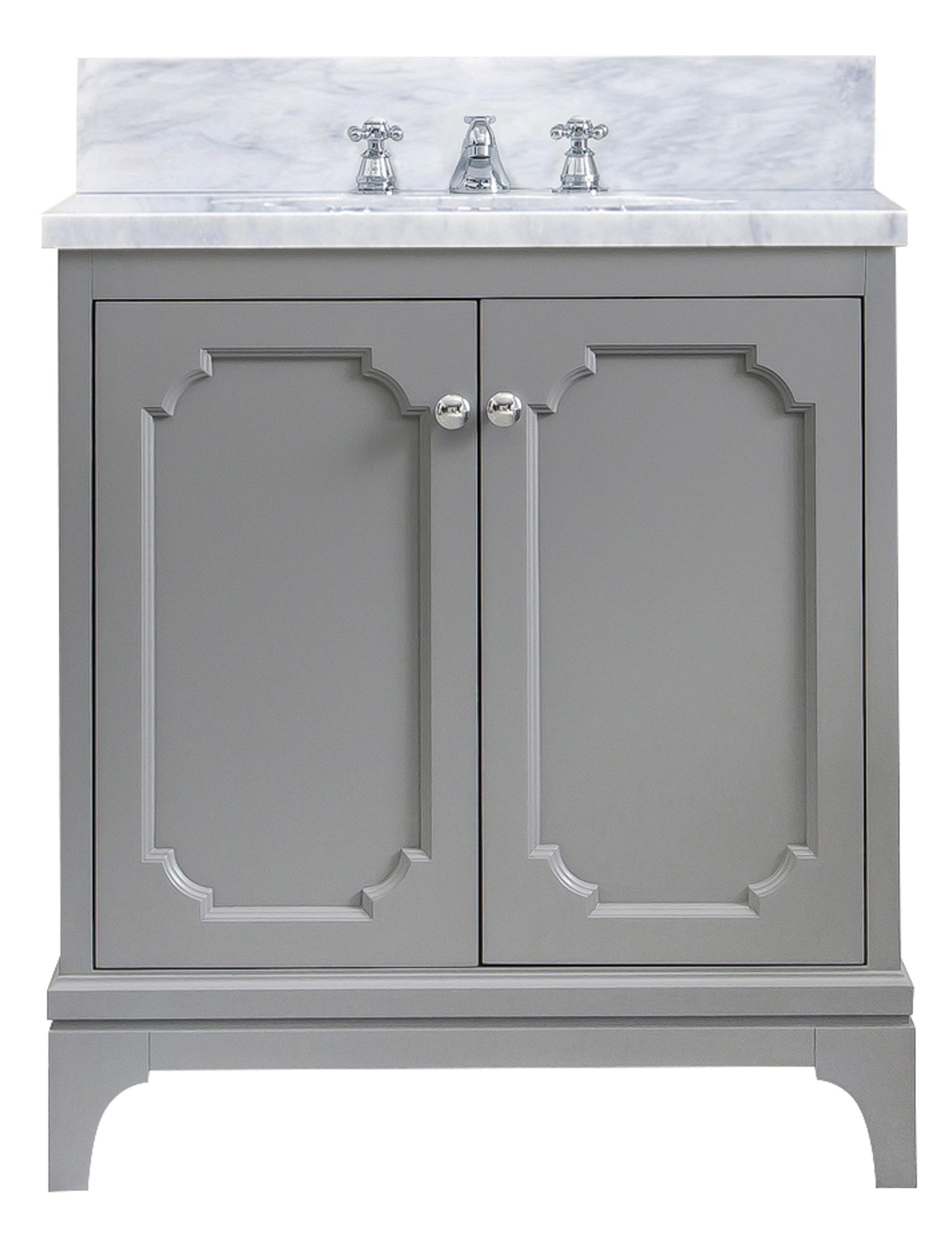 """30"""" Single Sink Carrara White Marble Countertop Vanity in Cashmere Grey with Mirror and Faucet Options"""