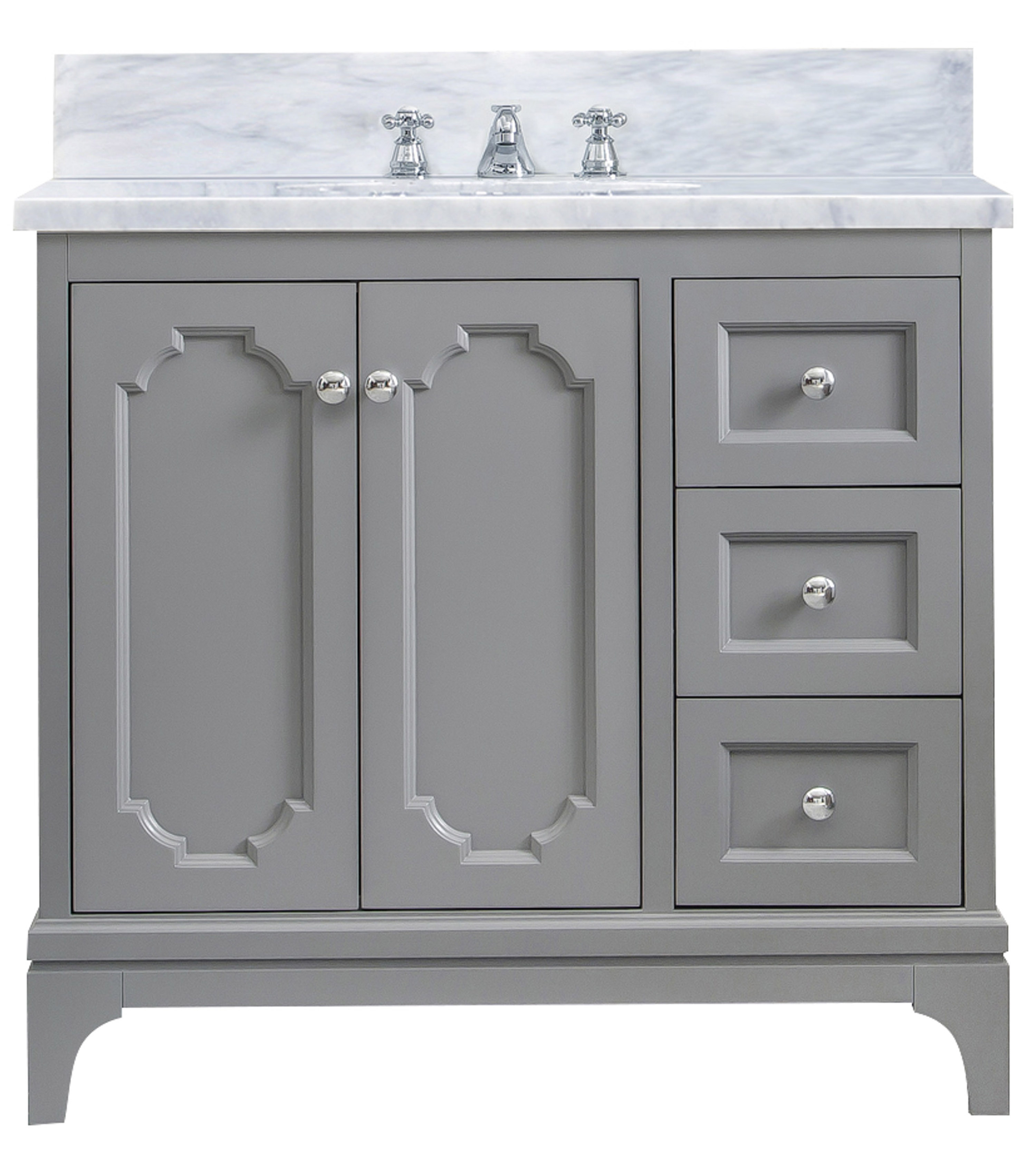 """36"""" Single Sink Carrara White Marble Countertop Vanity in Cashmere Grey with Mirror and Faucet Options"""