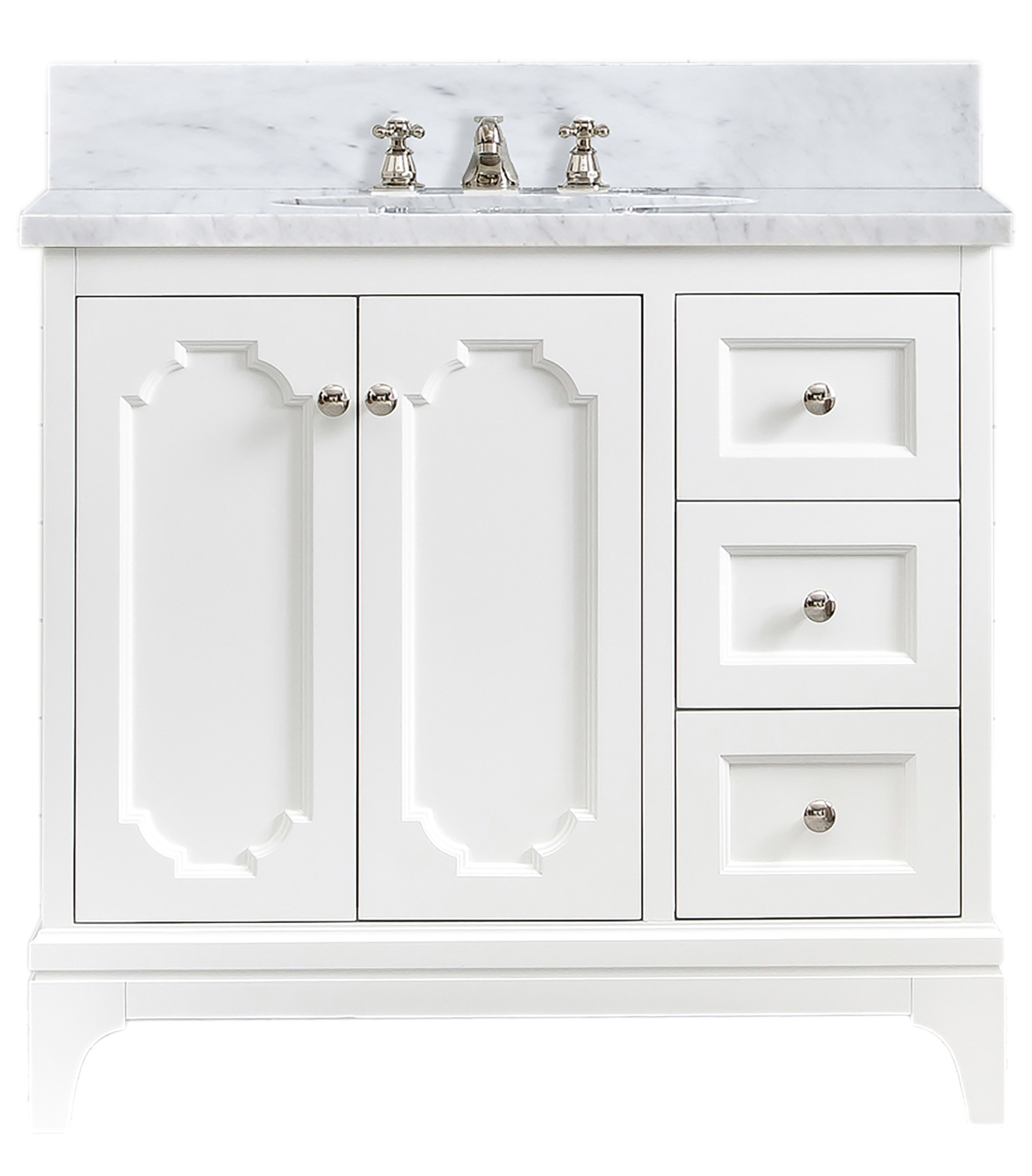 """36"""" Single Sink Carrara White Marble Countertop Vanity in Pure White with Mirror and Faucet Options"""