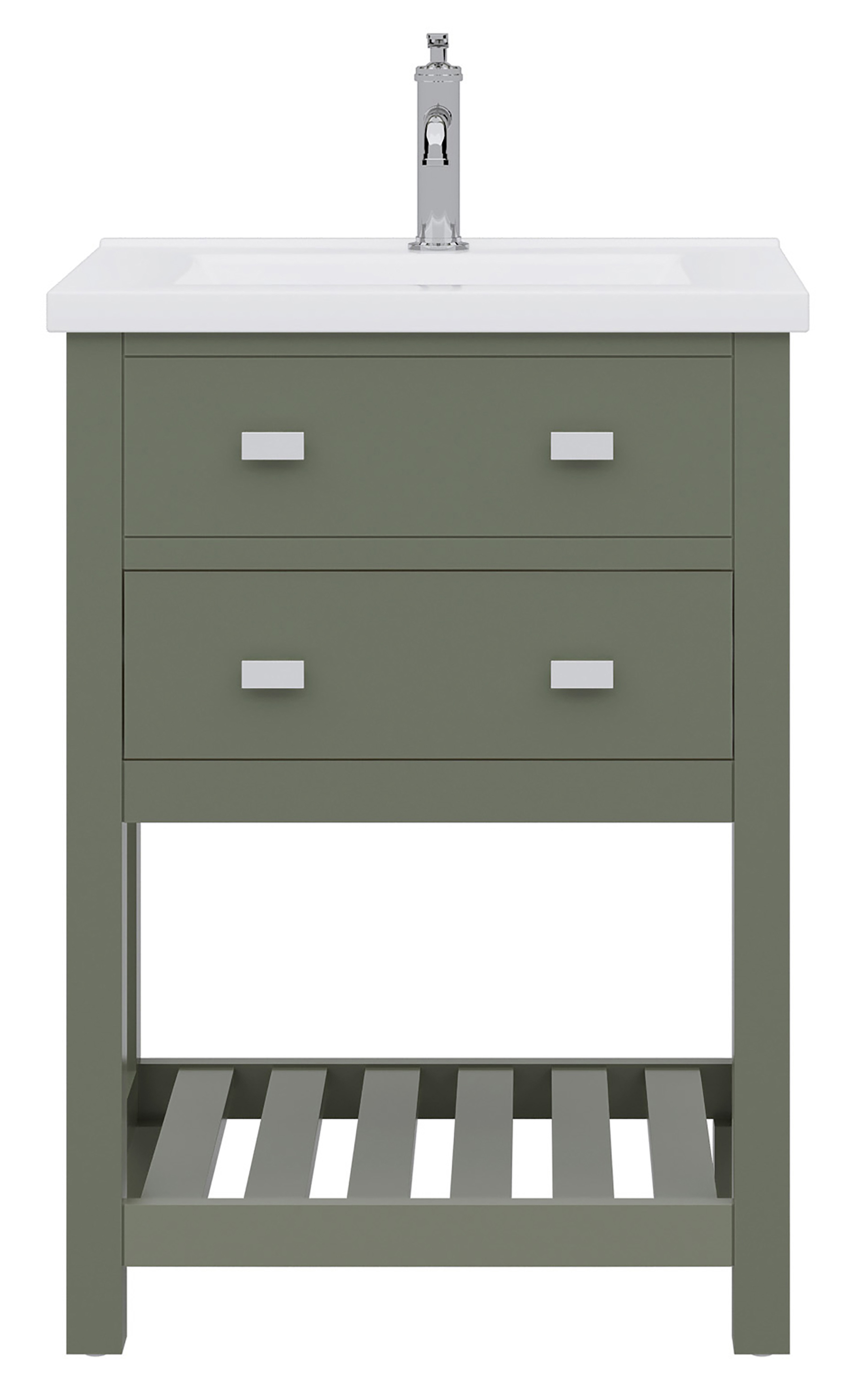 """30"""" Integrated Ceramic Sink Top Vanity in Glacial Green with Faucet Options"""