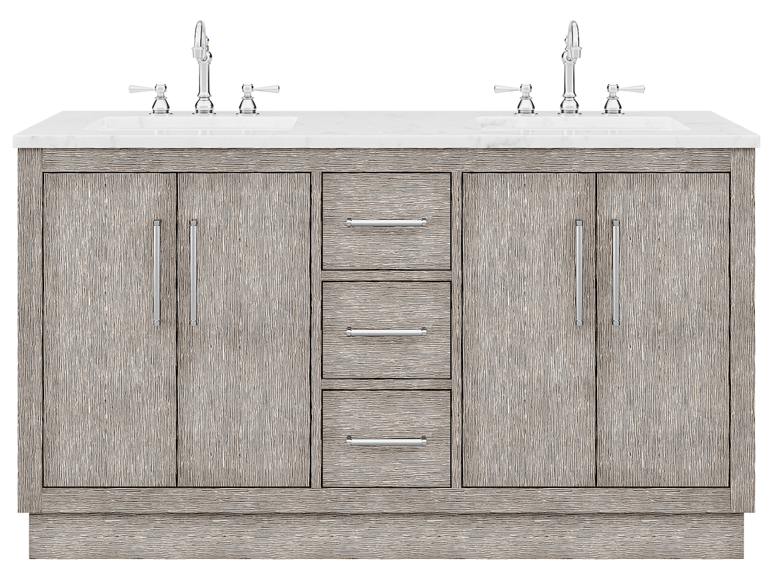 """60"""" Double Sink Carrara White Marble Countertop Vanity in Grey Oak with Mirror and Faucet Options"""