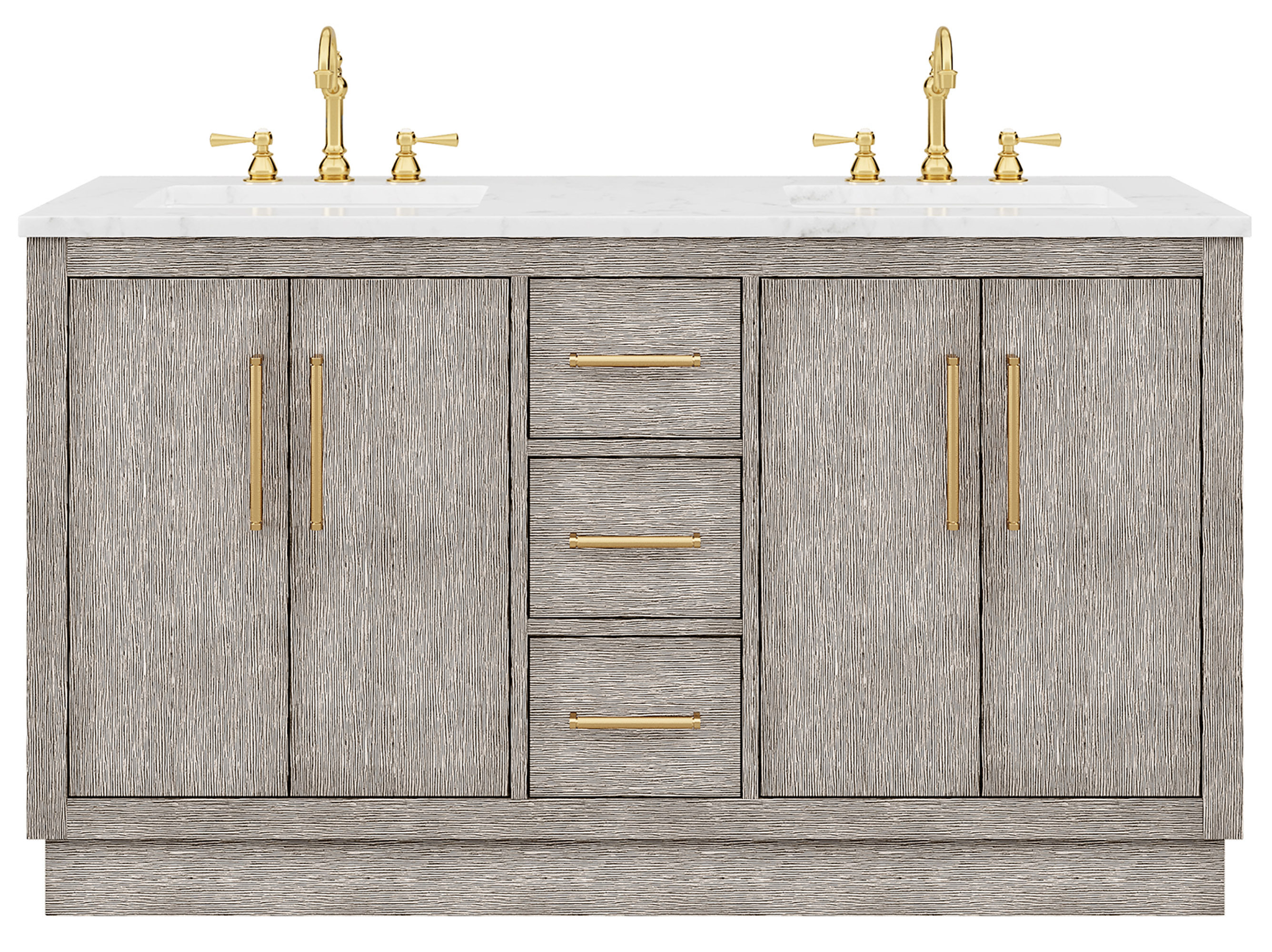 """60"""" Double Sink Carrara White Marble Countertop Vanity in Grey Oak with Faucet and Mirror Options"""