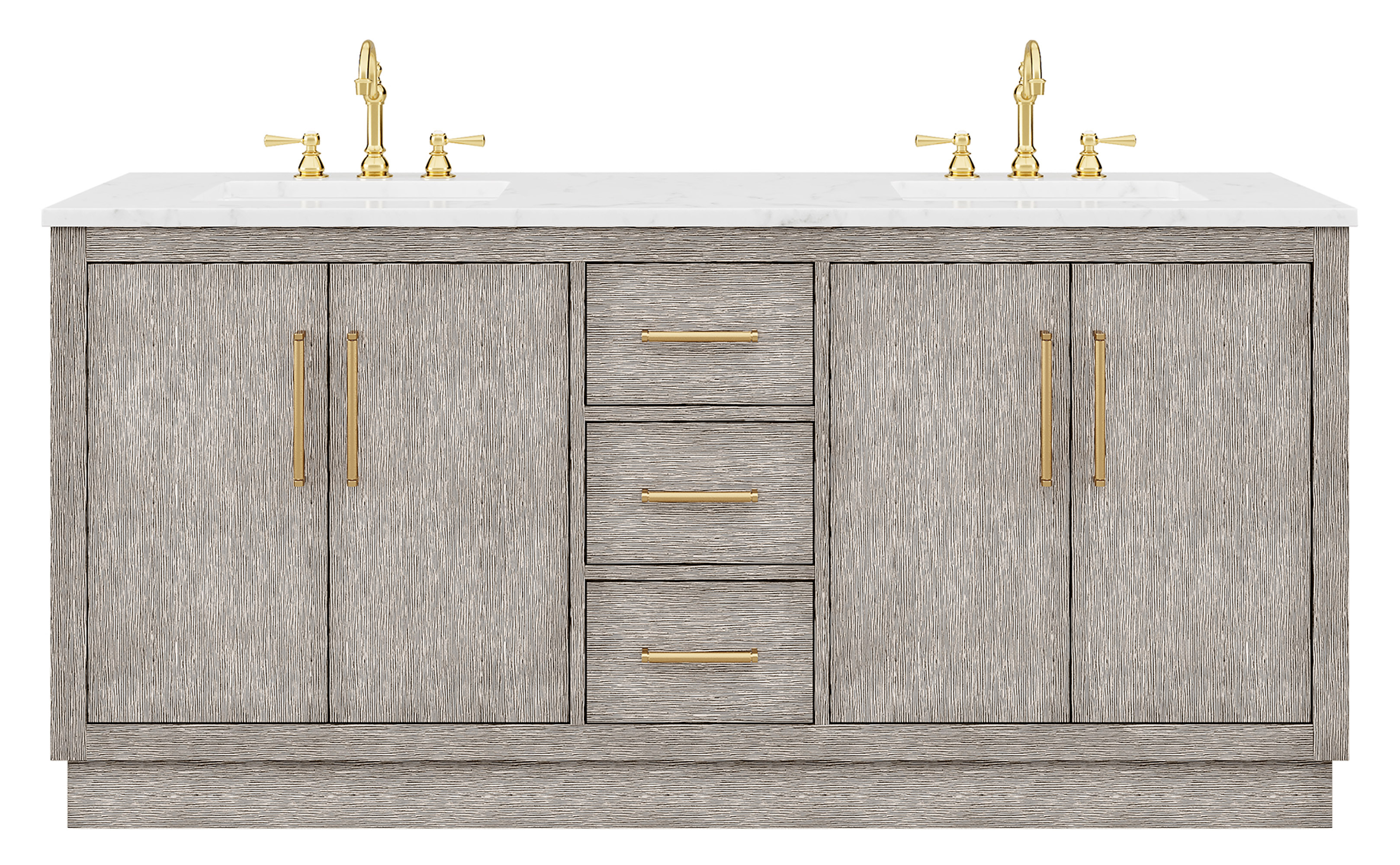 "72"" Double Sink Carrara White Marble Countertop Vanity in Grey Oak with Faucet and Mirror Options"