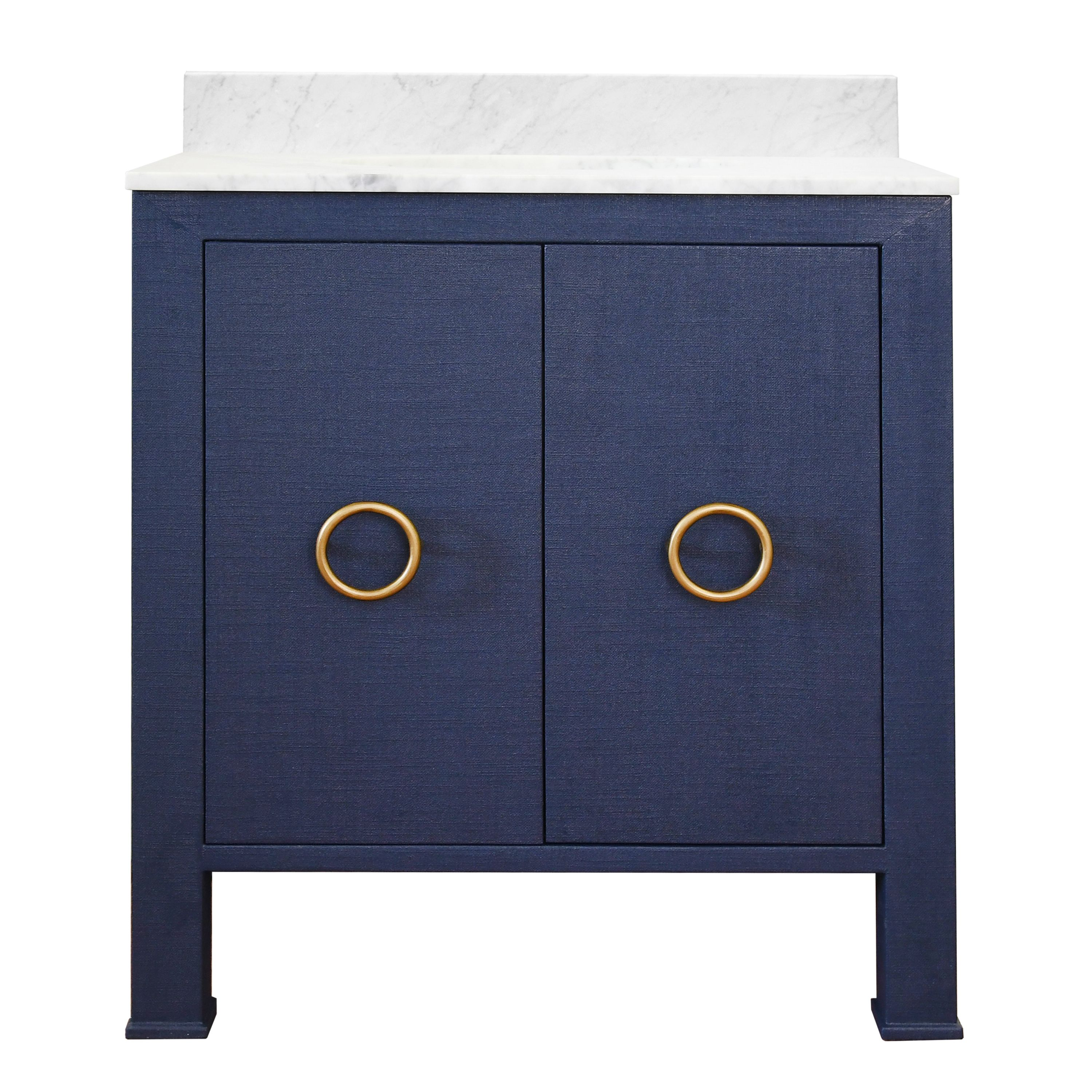 30 Issac Edwards Collection Bath Vanity In Textured Navy Linen W Antique Brass Hardware White Marble Top And Porcelain Sink
