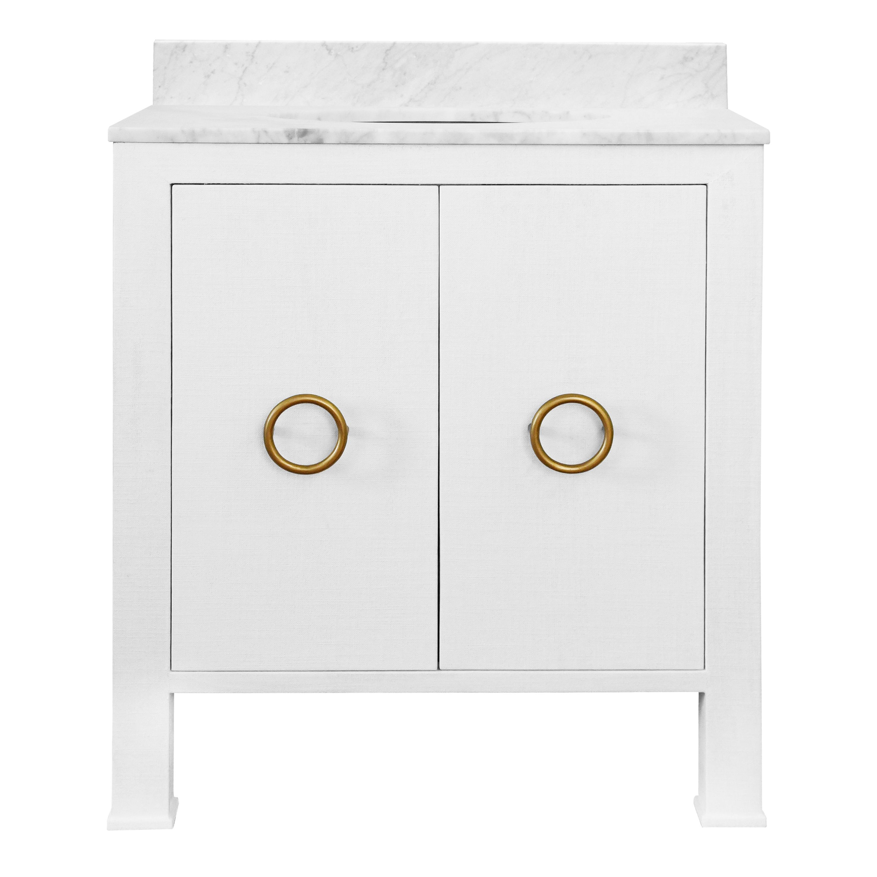 """30"""" Issac Edwards Collection Bath Vanity in Textured White Linen w/ Antique Brass Hardware, White Marble Top and Porcelain Sink"""