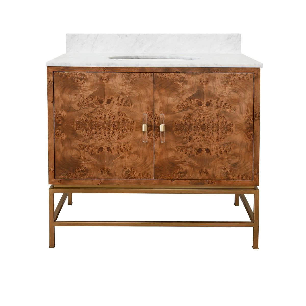 Bath Vanity in Matte Dark Burl Wood and Antique Brass with White Marble Top and Porcelain Sink