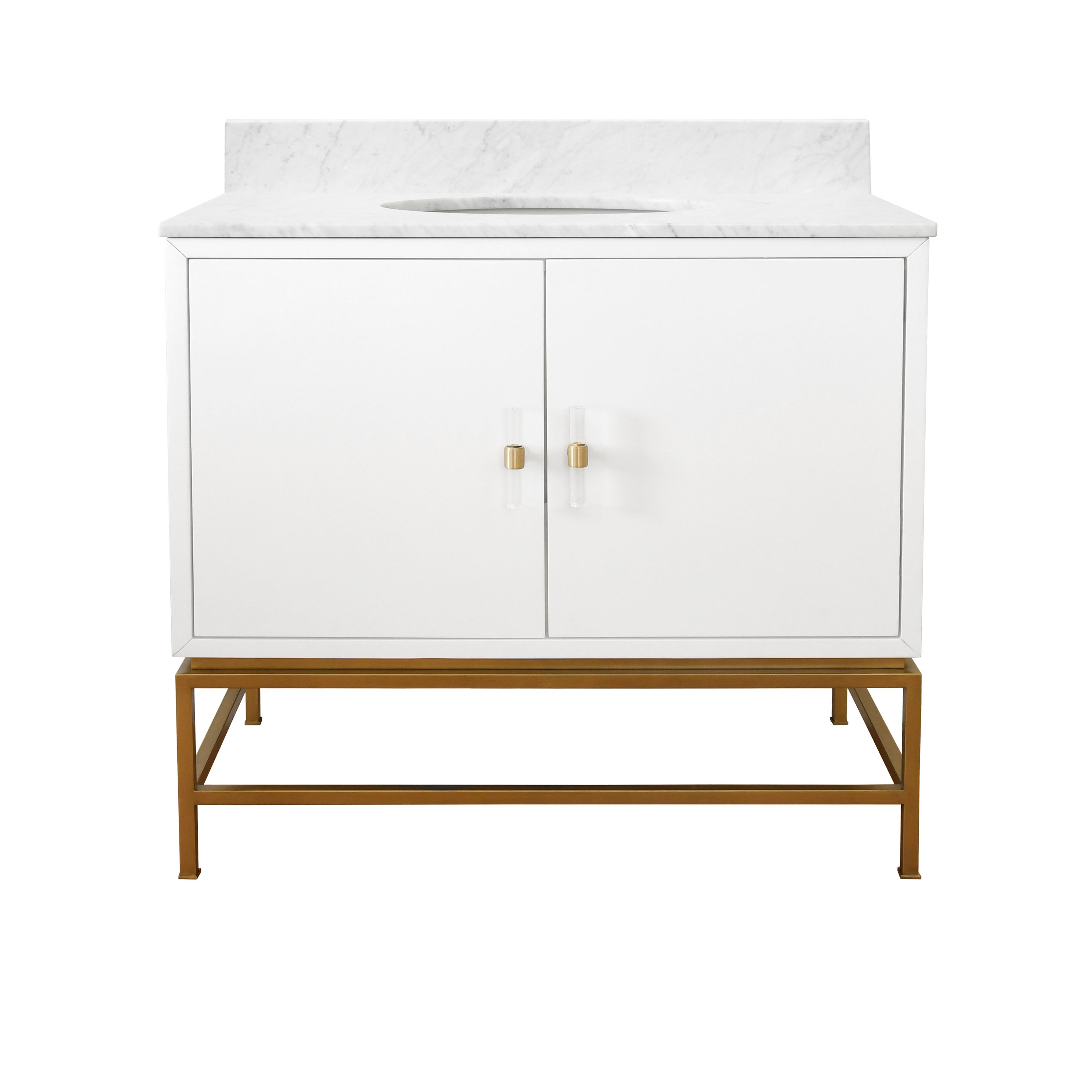 Bath Vanity in Matte White Lacquer and Antique Brass with White Marble Top and Porcelain Sink
