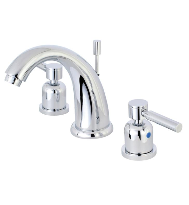 """Concord 5 3/4"""" Double Metal Lever Handle Widespread Bathroom Sink Faucet with Pop-Up Drain"""