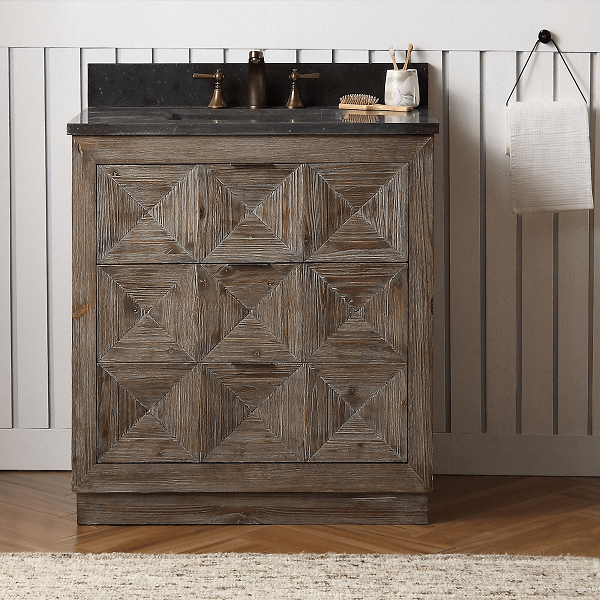 """36"""" Free Standing Wood Vanity in Brown with Marble Top, No Faucet"""