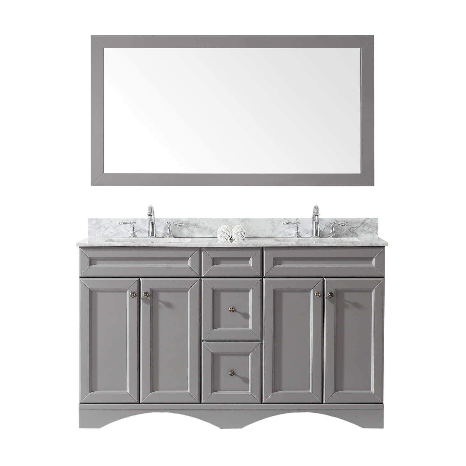"""60"""" Double Bath Vanity in Grey with Marble Top and Square Sink with Faucet and Mirror Options"""