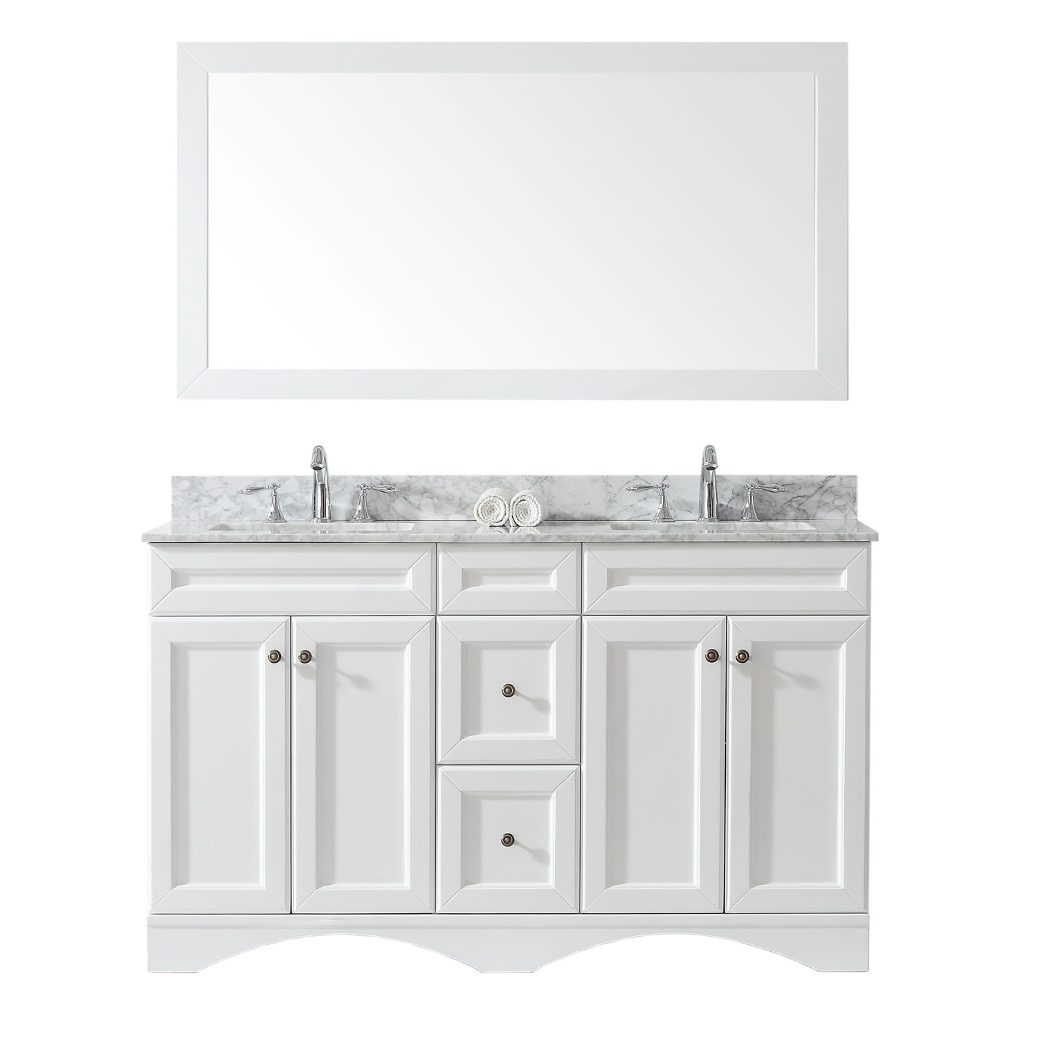 """60"""" Double Bath Vanity in White with Marble Top and Square Sink with Faucet and Mirror Options"""