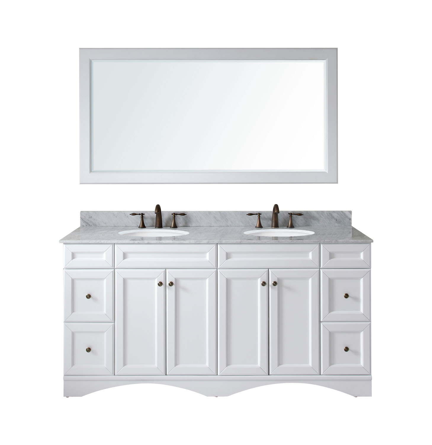 """72"""" Double Bath Vanity in White with Marble Top and Round Sink with Faucet and Mirror Options"""